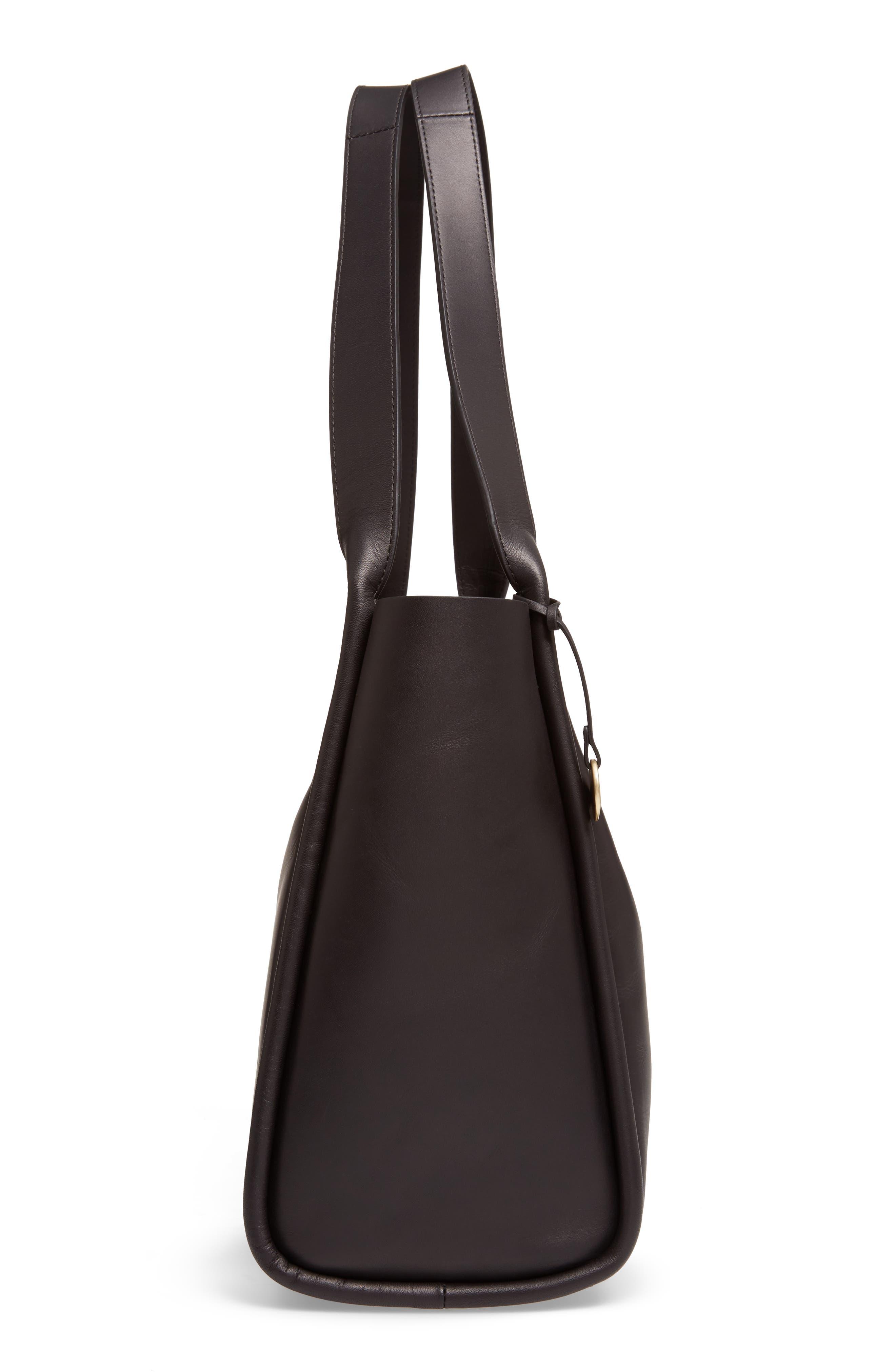 Karalie Leather Shoulder Bag,                             Alternate thumbnail 3, color,                             Black