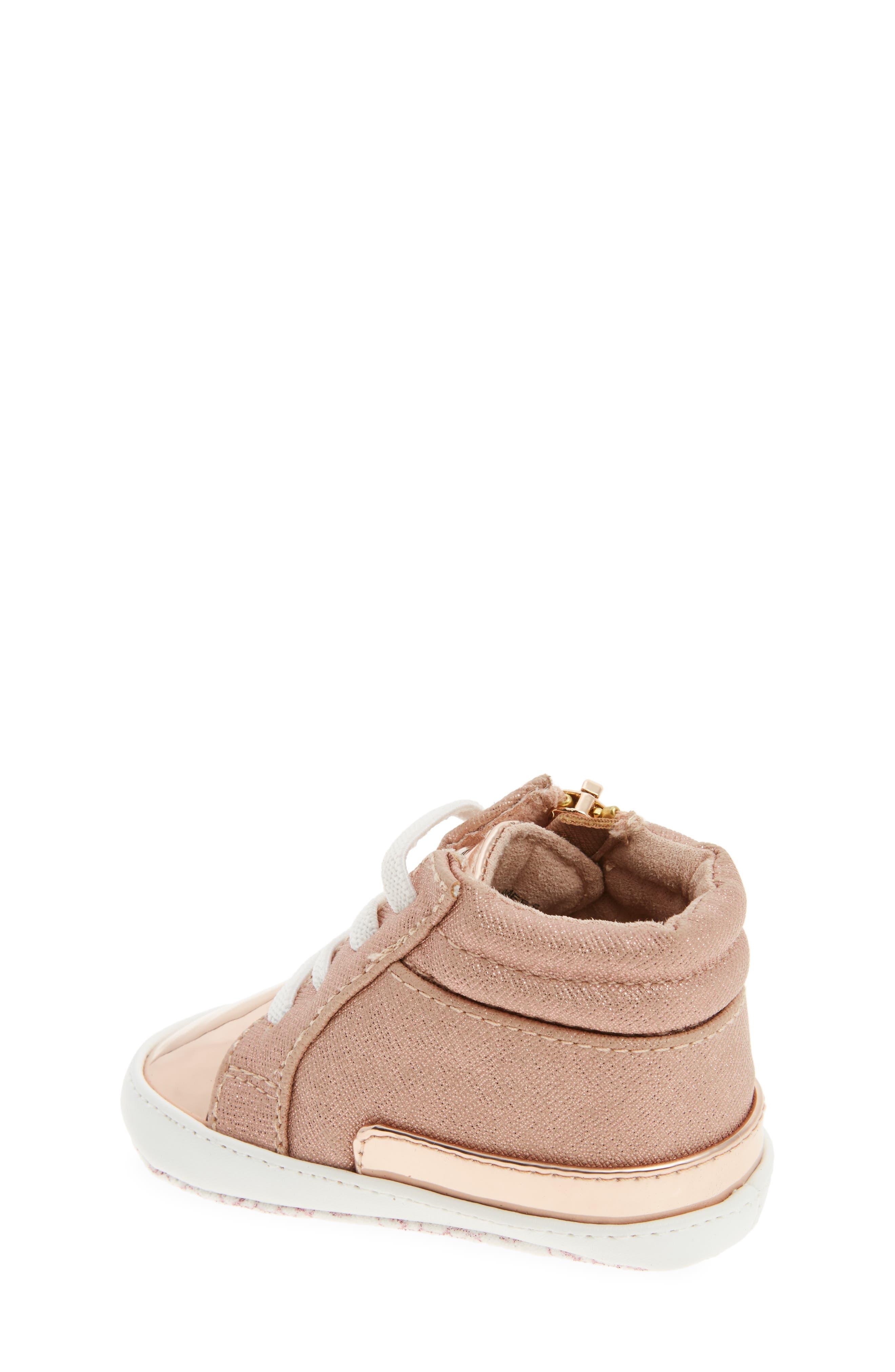 Baby Bleu High-Top Crib Shoe,                             Alternate thumbnail 2, color,                             Rose Gold