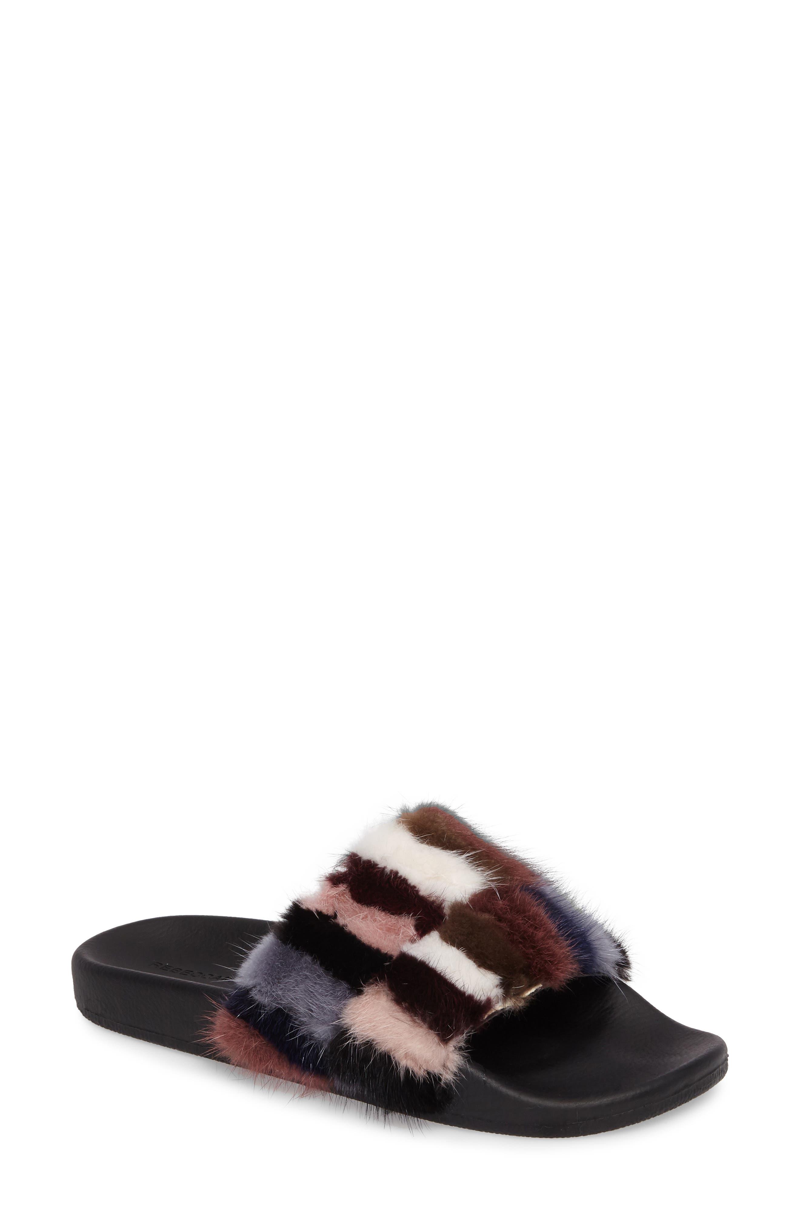 Sammi Genuine Fur Slide Sandal,                             Main thumbnail 1, color,                             Multi Fur