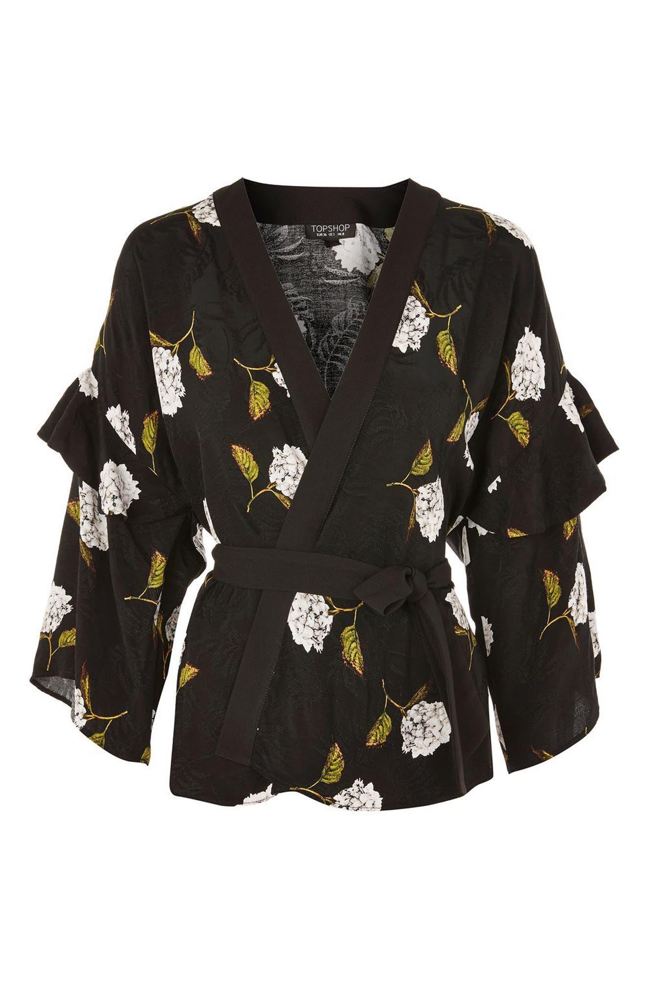 Floral Ruffle Sleeve Kimono,                             Alternate thumbnail 4, color,                             Black Multi