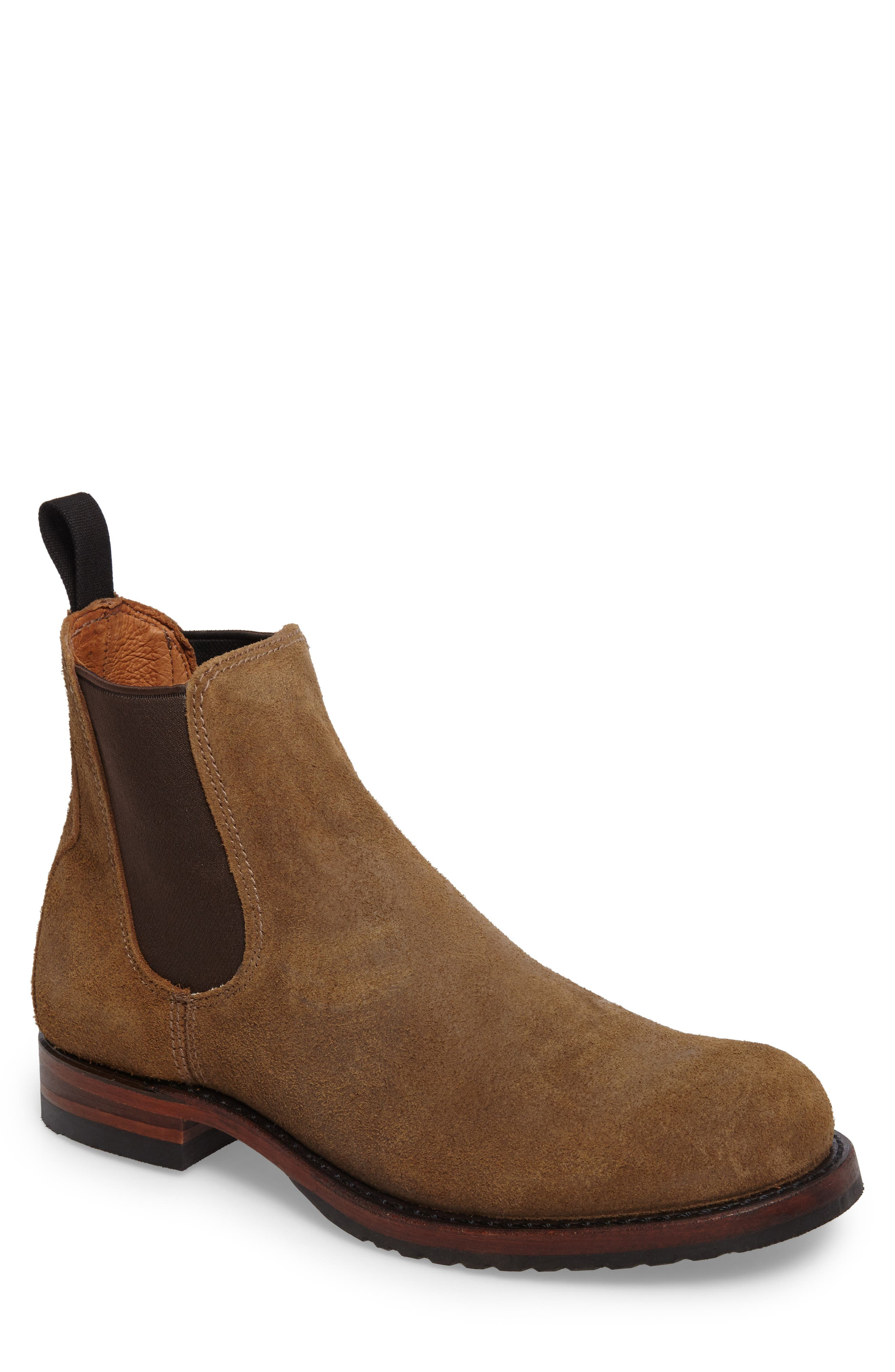 Logan Chelsea Boot,                         Main,                         color, Chestnut Waxed Suede