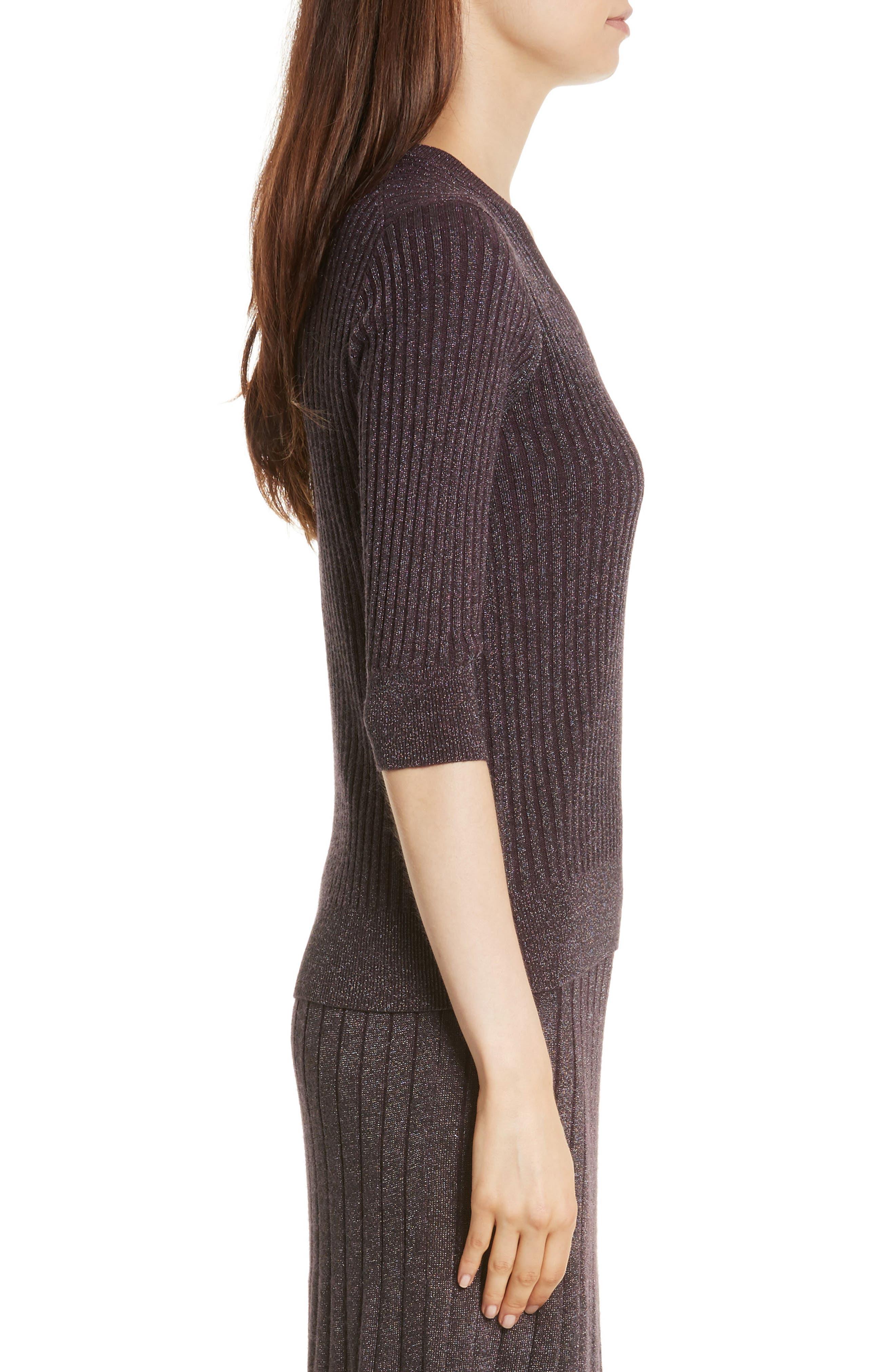 Alternate Image 3  - Rebecca Taylor Metallic Rib Sweater