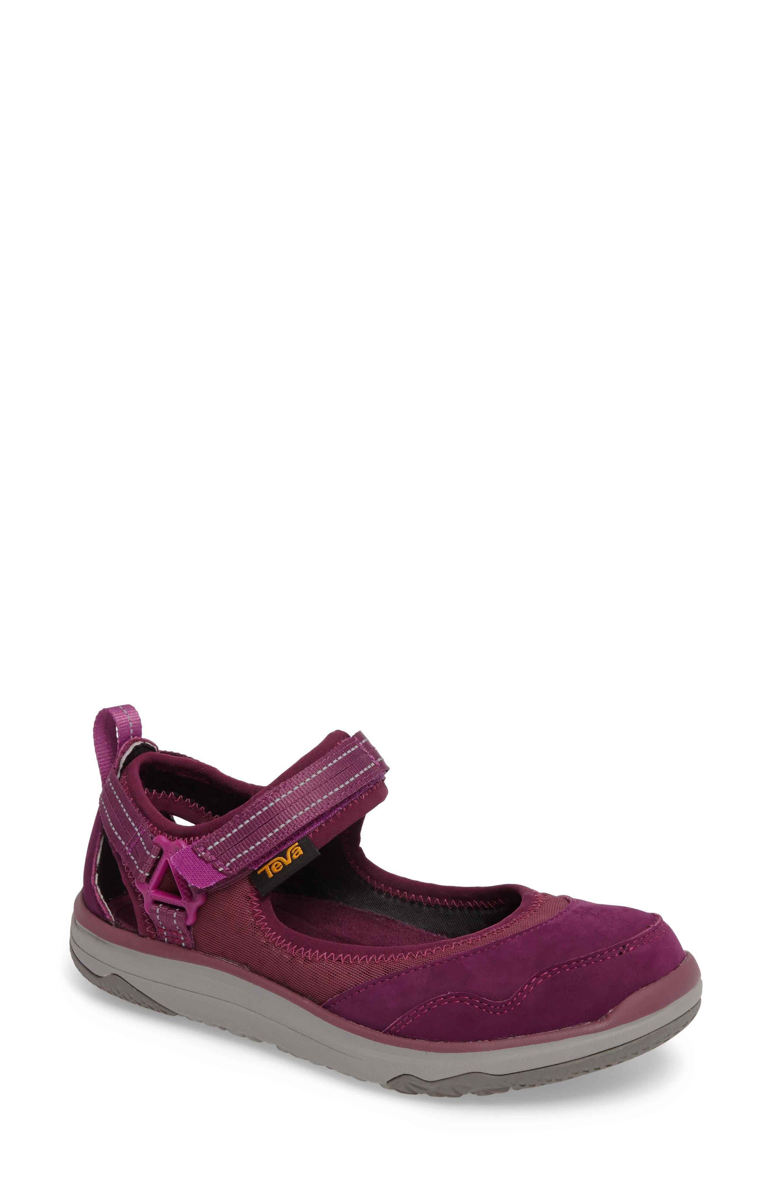 Terra Float Travel Mary Jane Flat,                         Main,                         color, Dark Purple Leather
