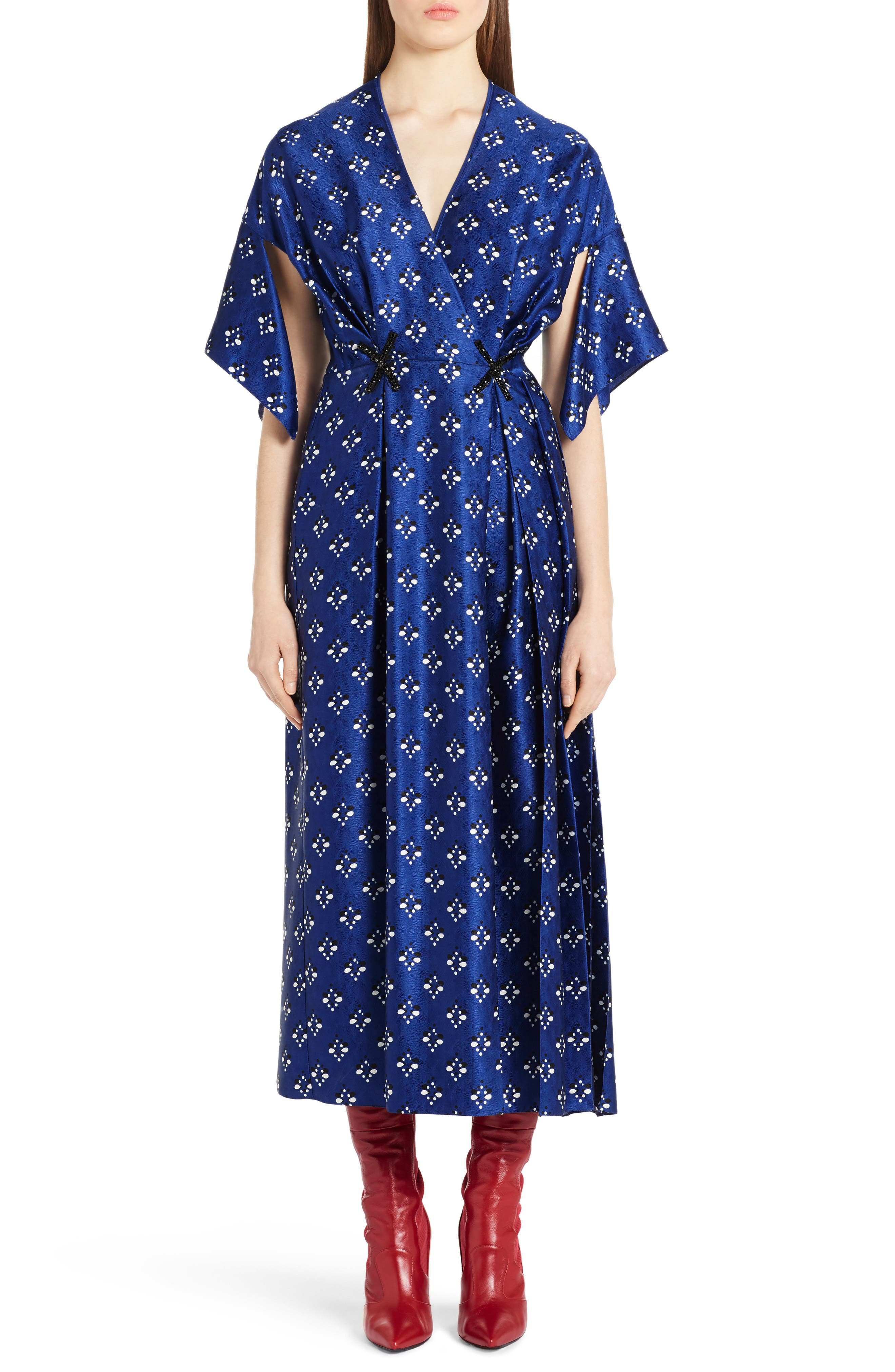 Drops Print Silk Dress,                             Main thumbnail 1, color,                             Blue Print
