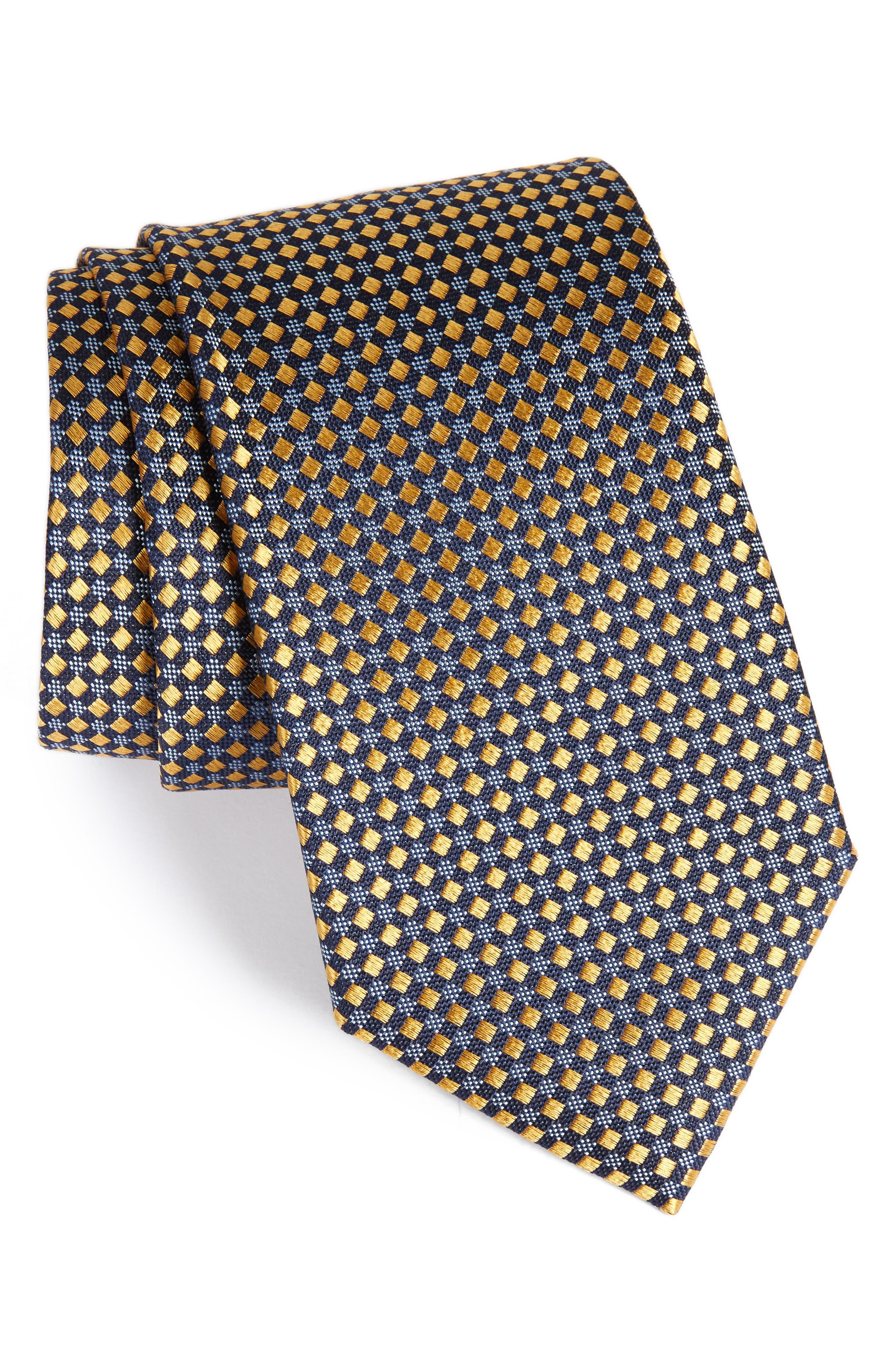 Geometric Silk Tie,                         Main,                         color, Gold