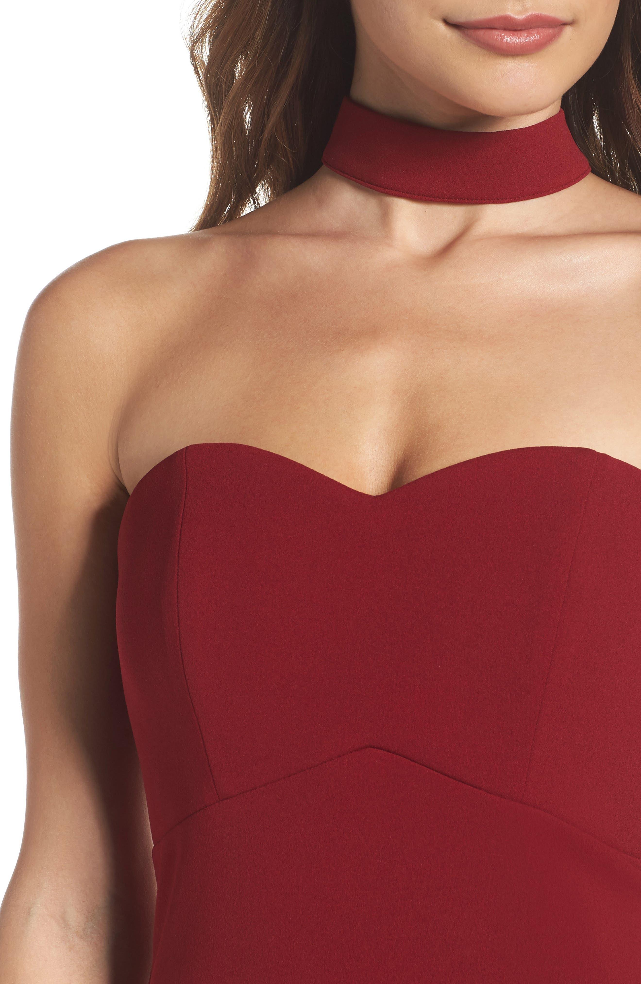 Choker Neck Body-Con Dress,                             Alternate thumbnail 4, color,                             Merlot