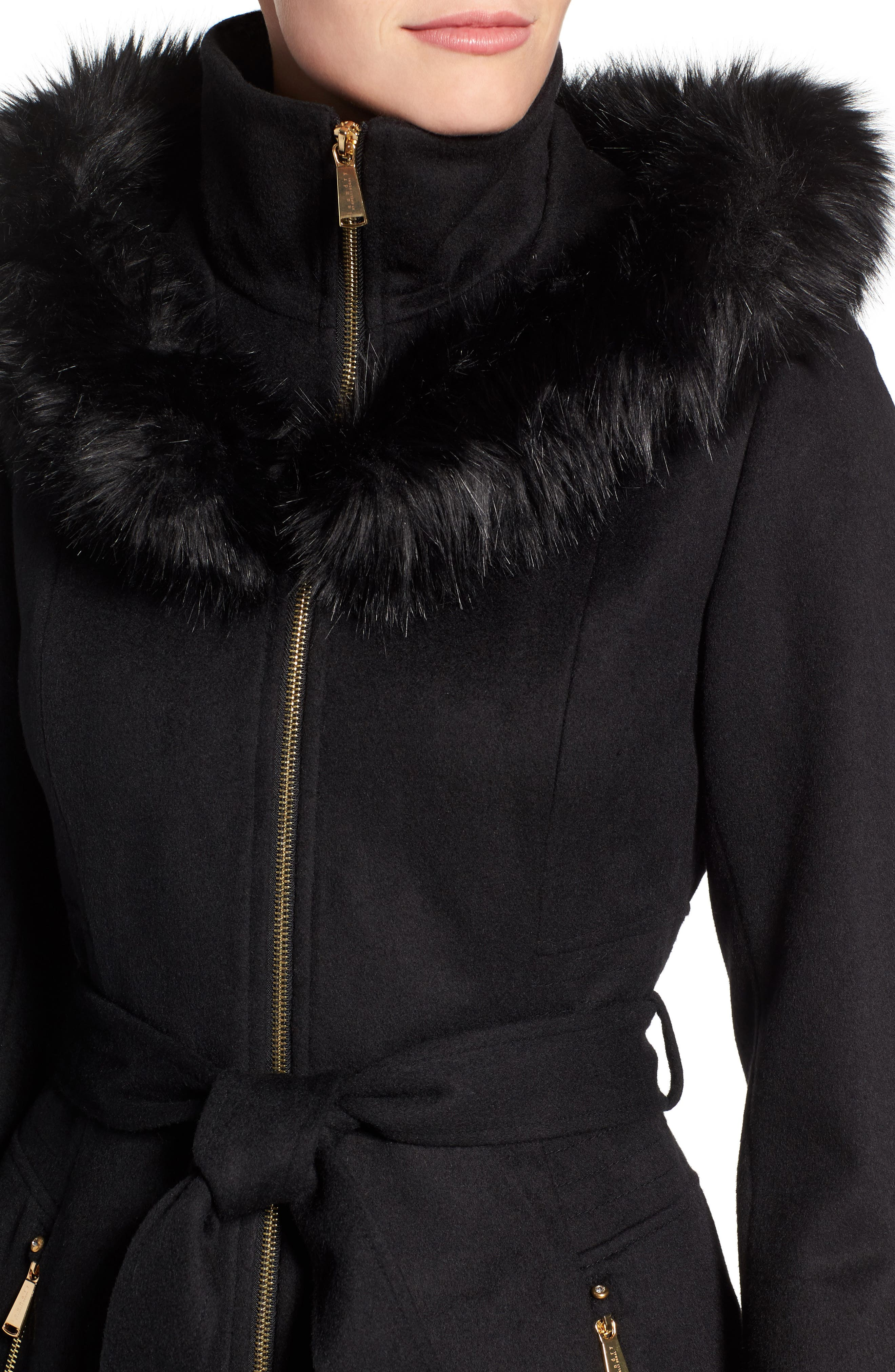 Belted Fit & Flare Coat with Faux Fur Trim,                             Alternate thumbnail 4, color,                             Black