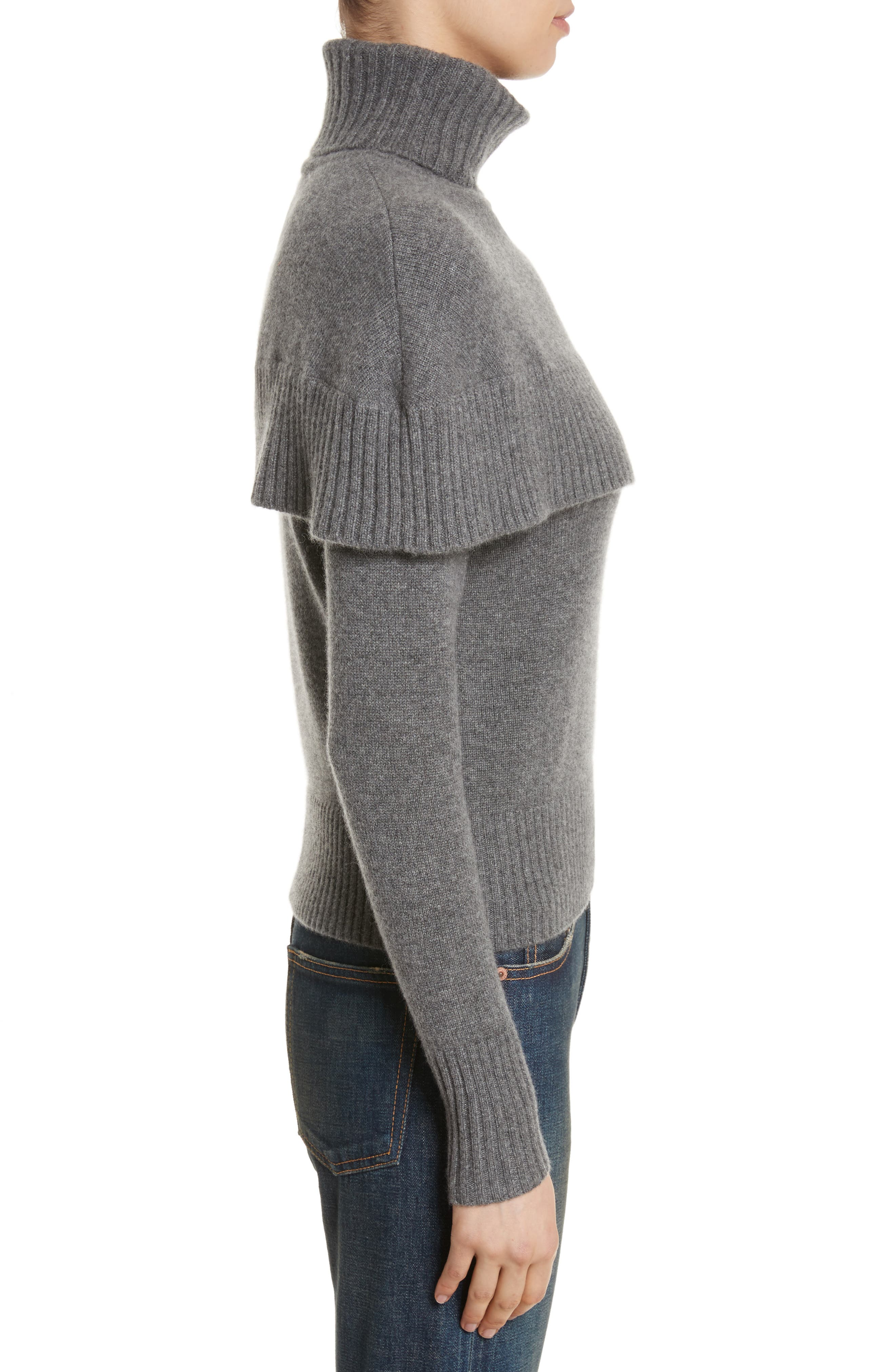 Cashmere Mini Cape Turtleneck Sweater,                             Alternate thumbnail 3, color,                             Charcoal Black