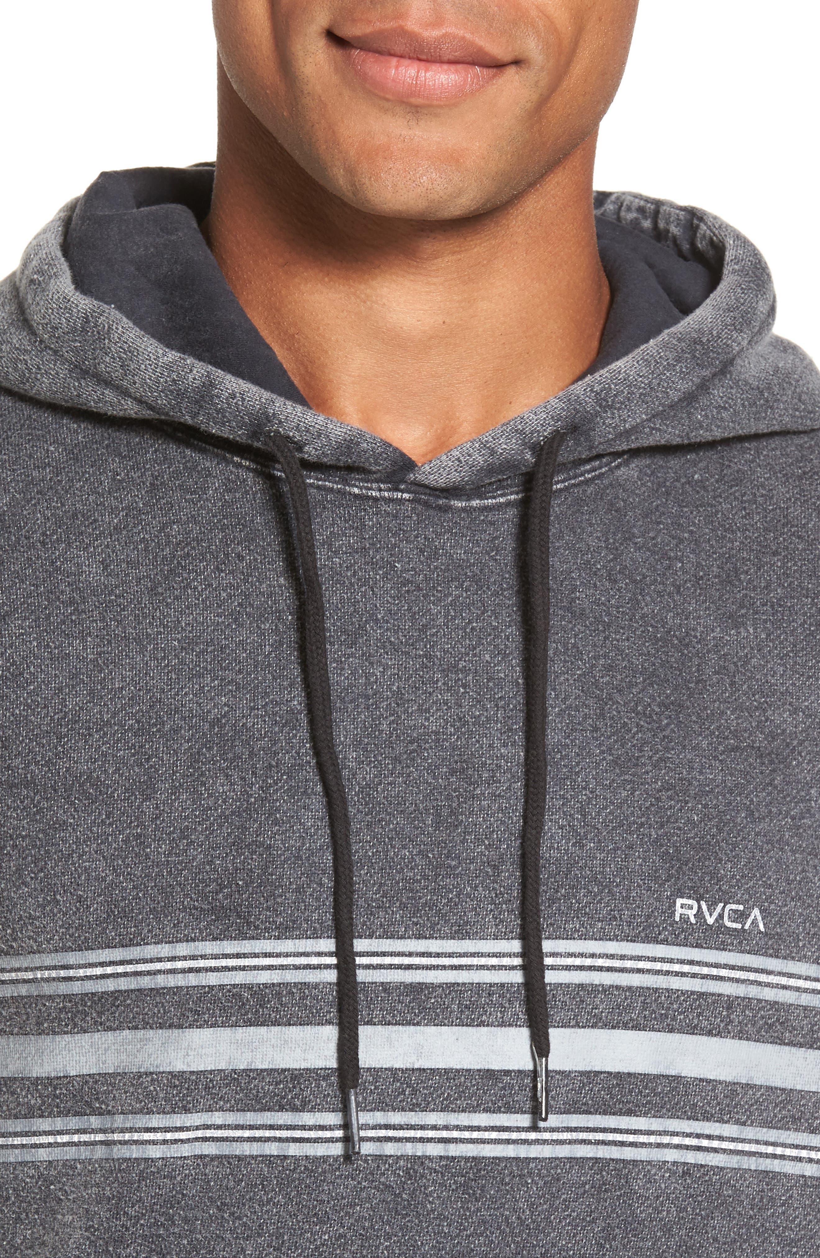 Alternate Image 4  - RVCA Seven Stripe Fleece Hoodie