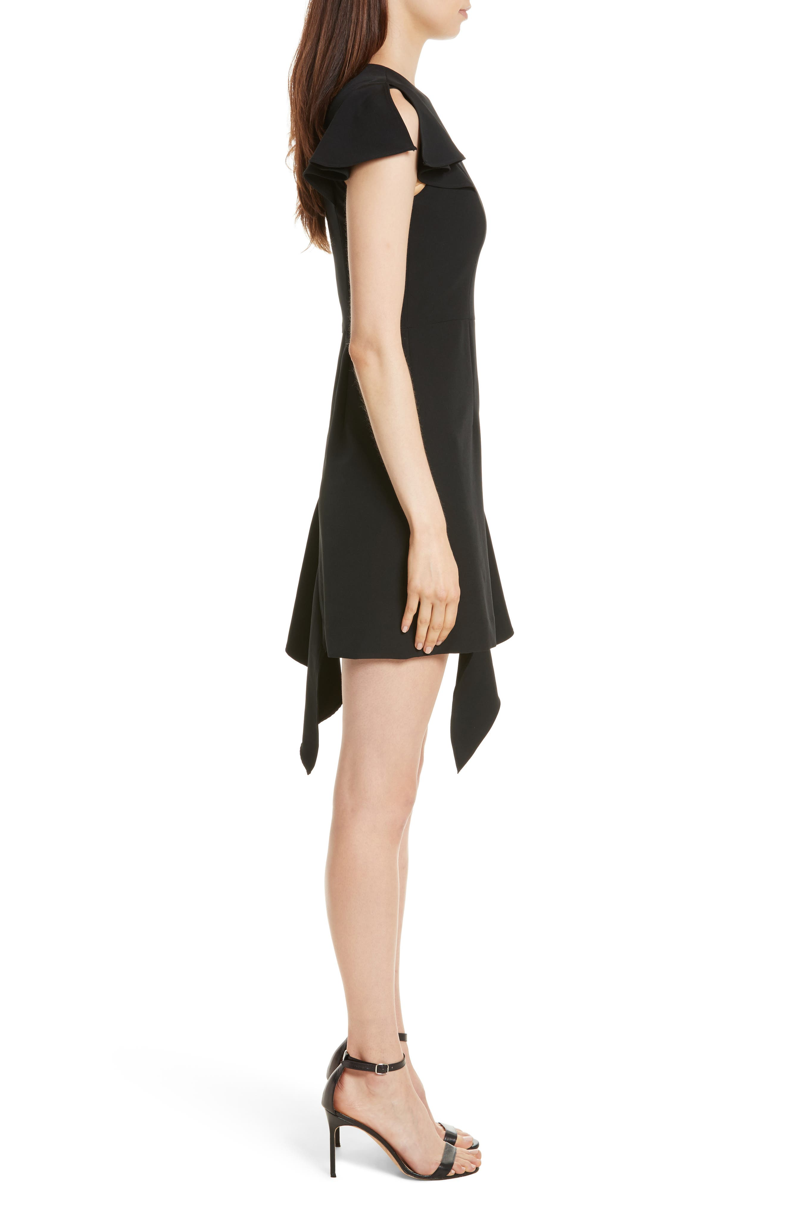 Asymmetrical Ruffle Stretch Cady Dress,                             Alternate thumbnail 3, color,                             Black