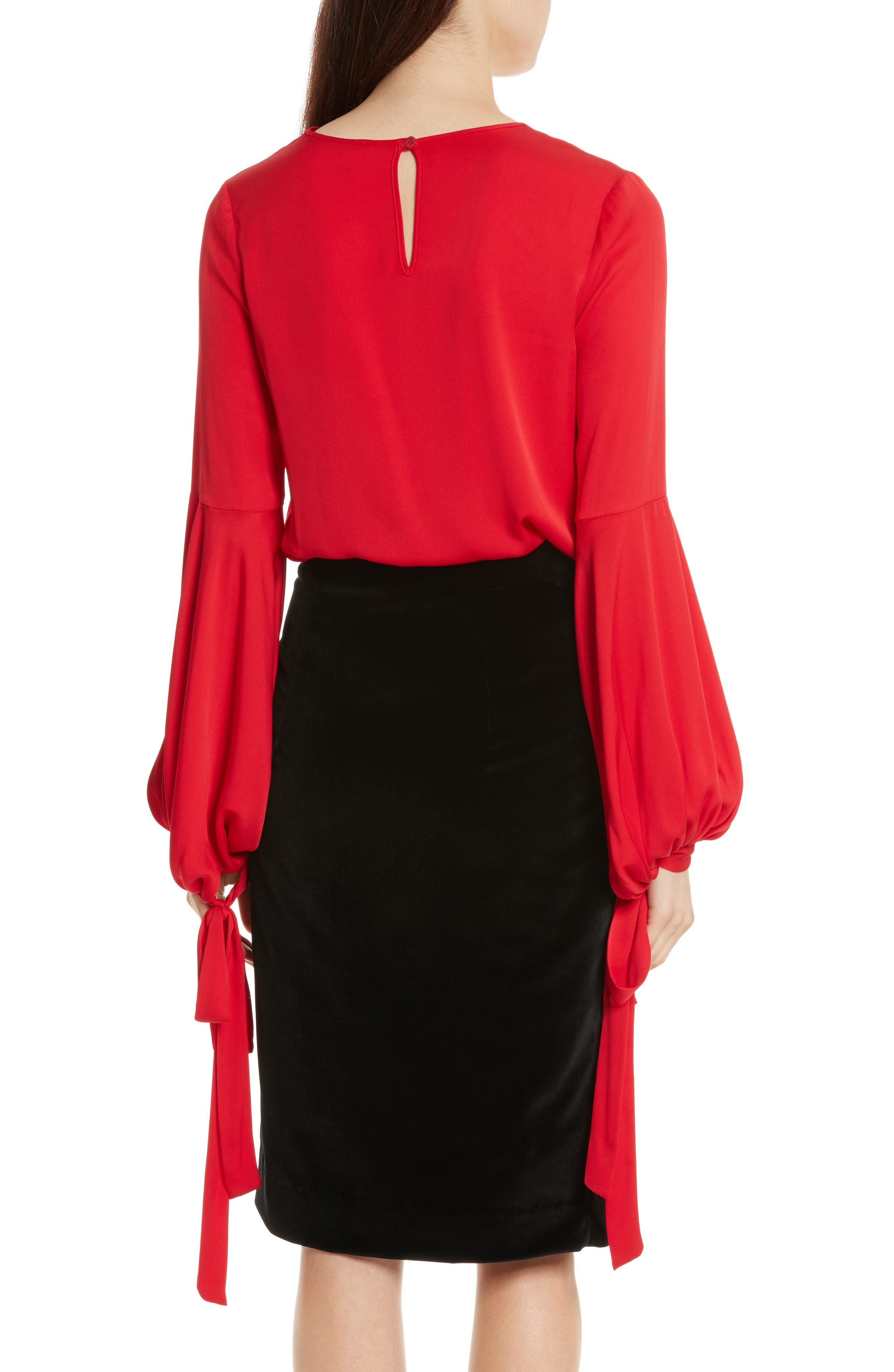 Juliette Stretch Silk Blouse,                             Alternate thumbnail 2, color,                             Lipstick Red