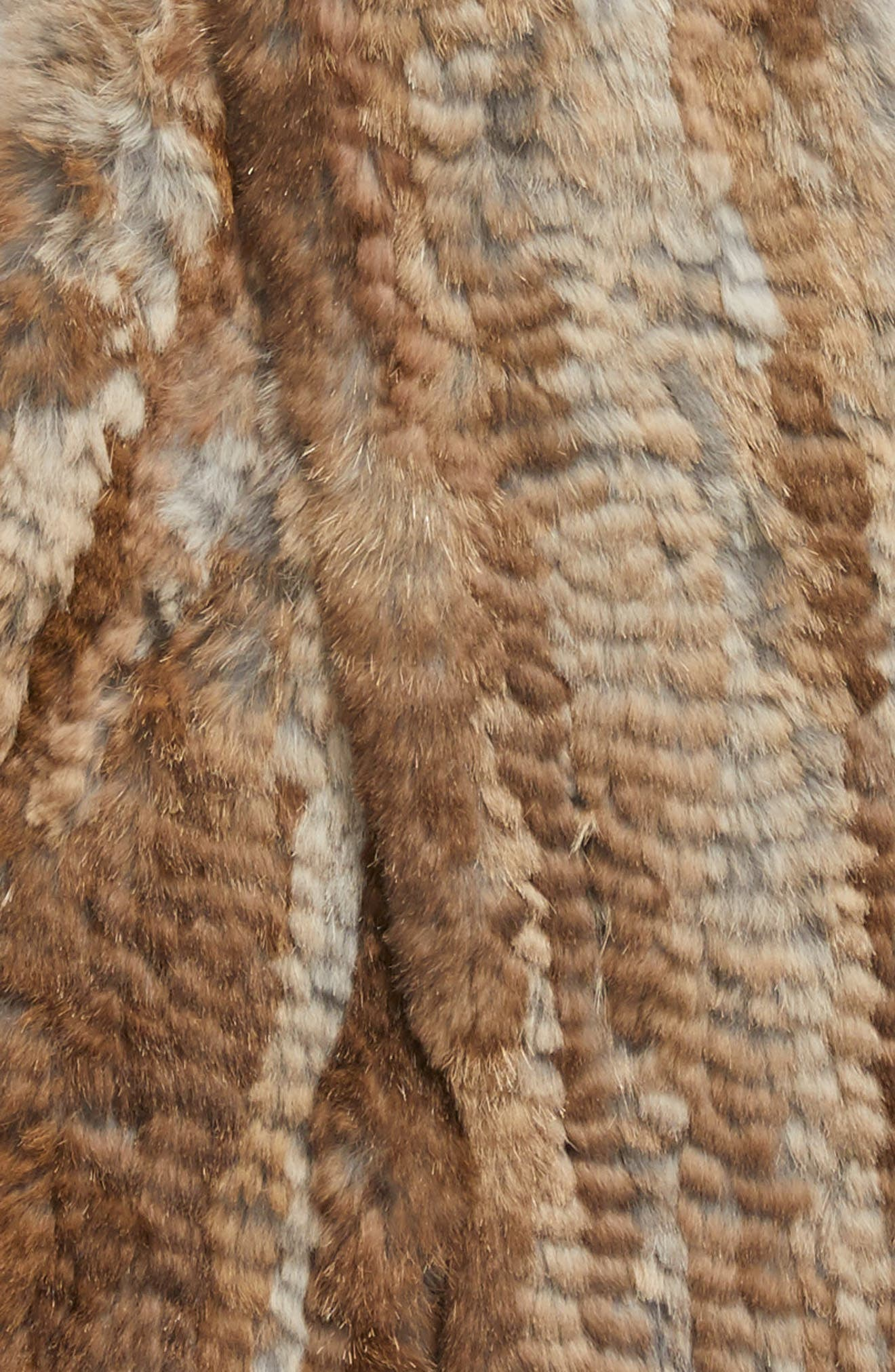 Genuine Rabbit Fur Scarf with Built-in Mittens,                             Alternate thumbnail 3, color,                             Natural