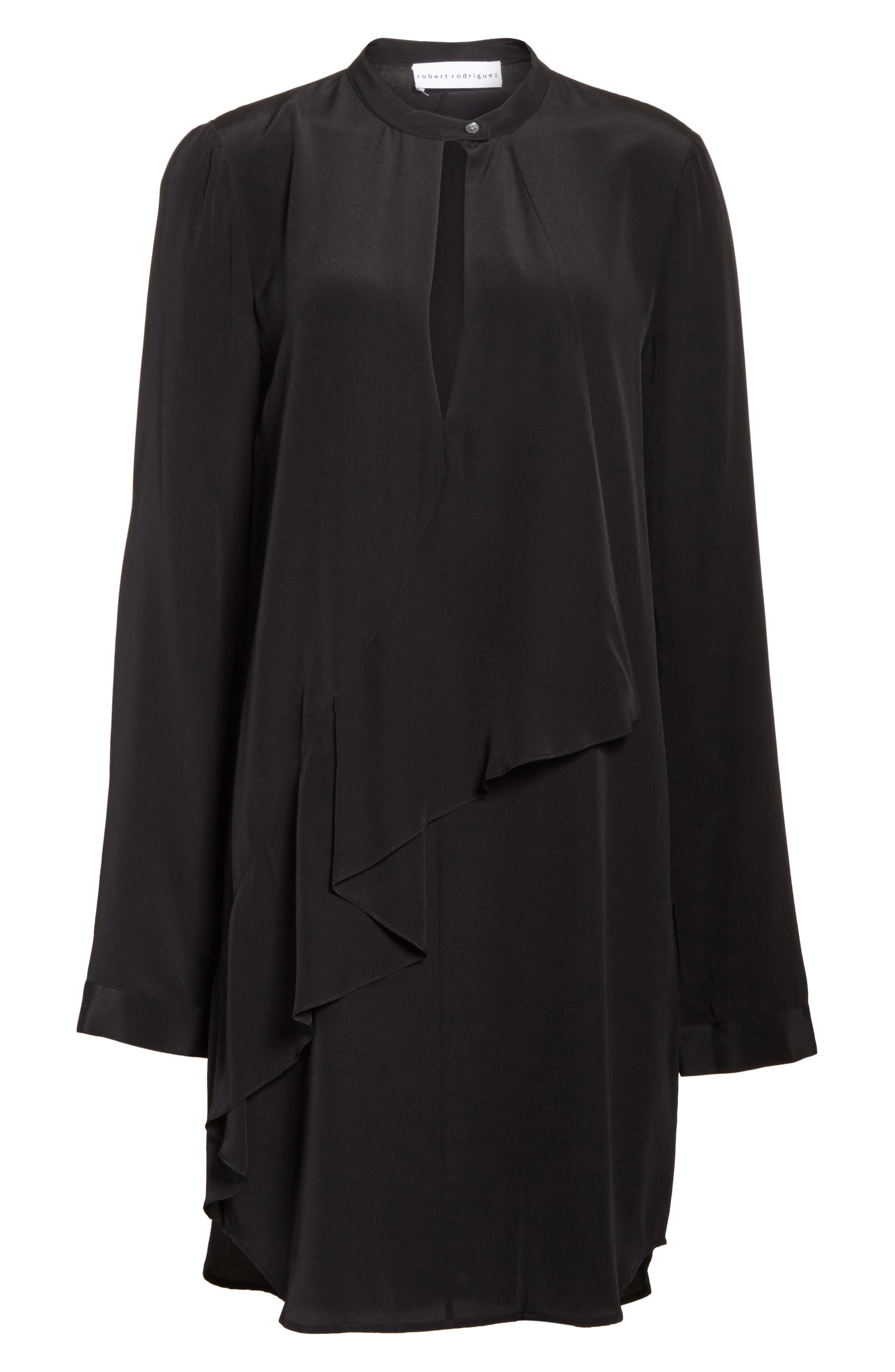 Drape Silk Dress,                             Alternate thumbnail 6, color,                             Black