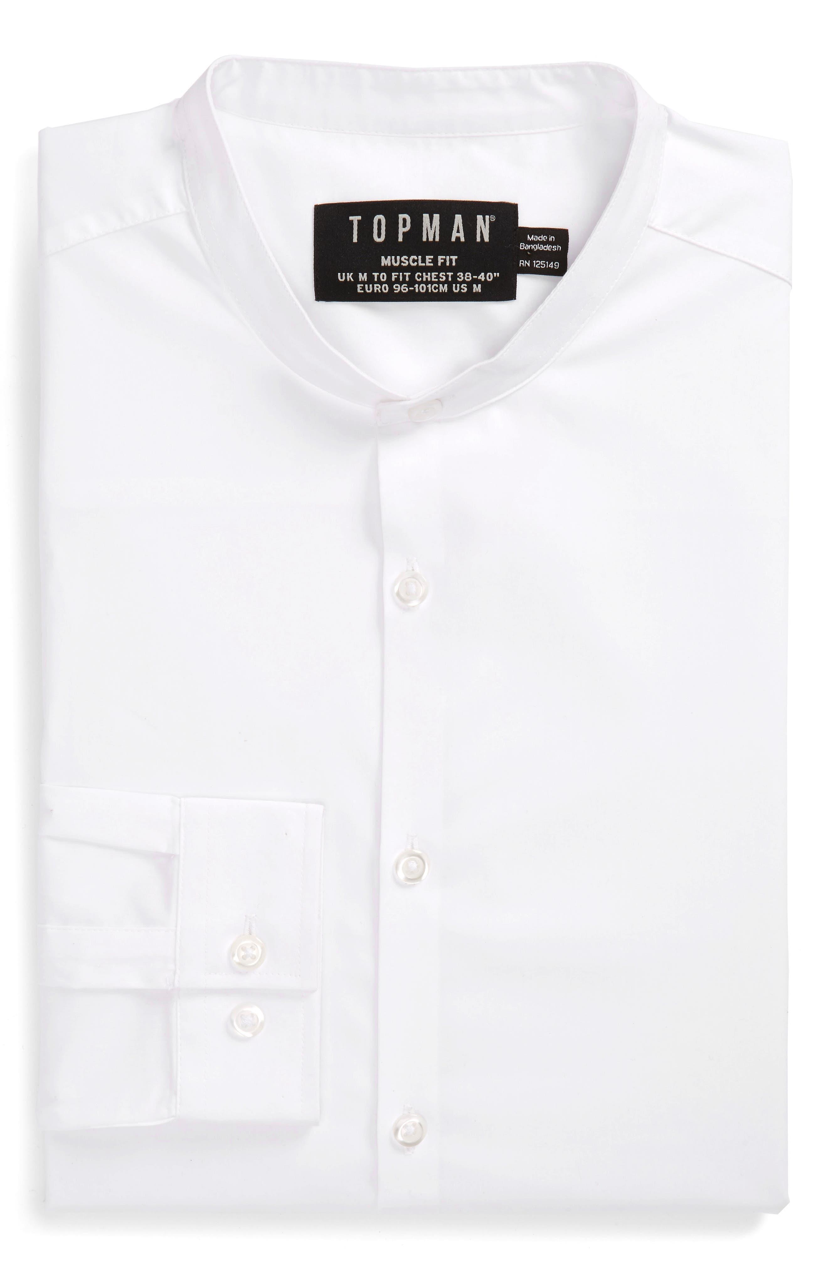 Band Collar Skinny Fit Dress Shirt,                             Alternate thumbnail 5, color,                             White