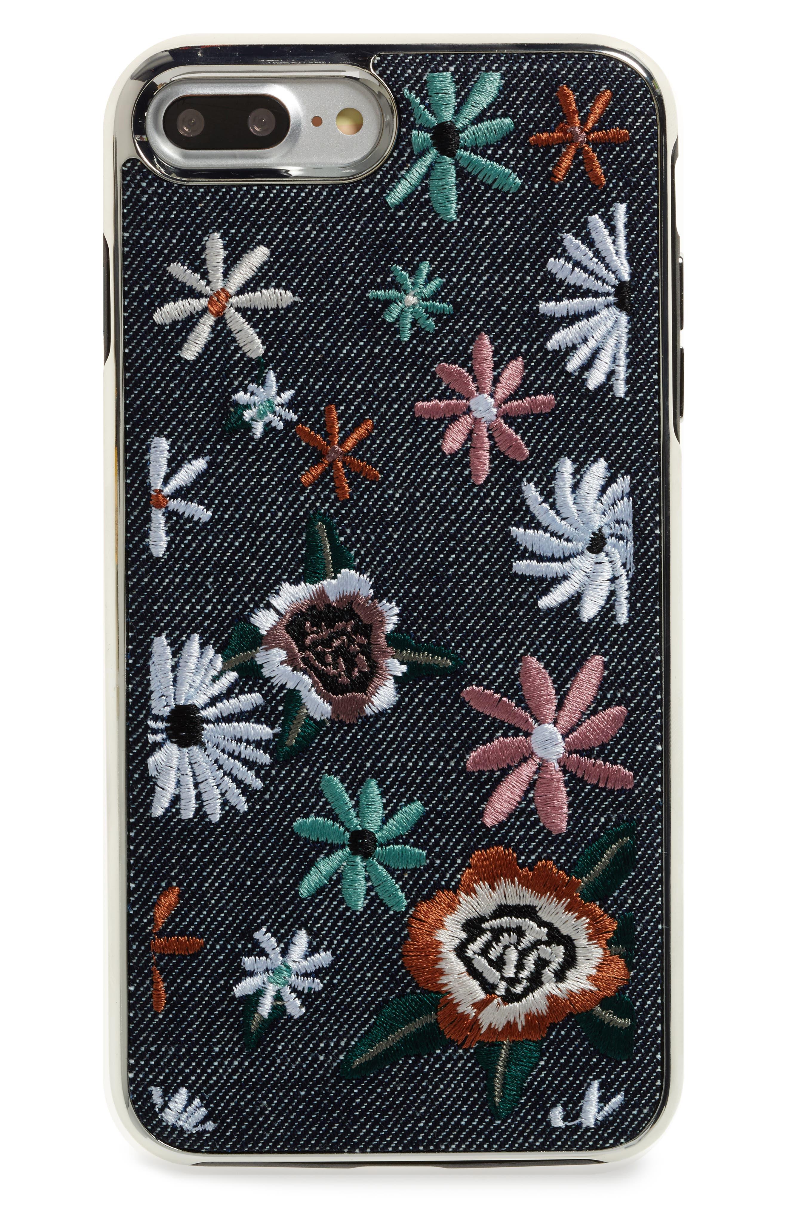 Luxe Double Up iPhone 7/8 Plus Case,                         Main,                         color, Black Floral