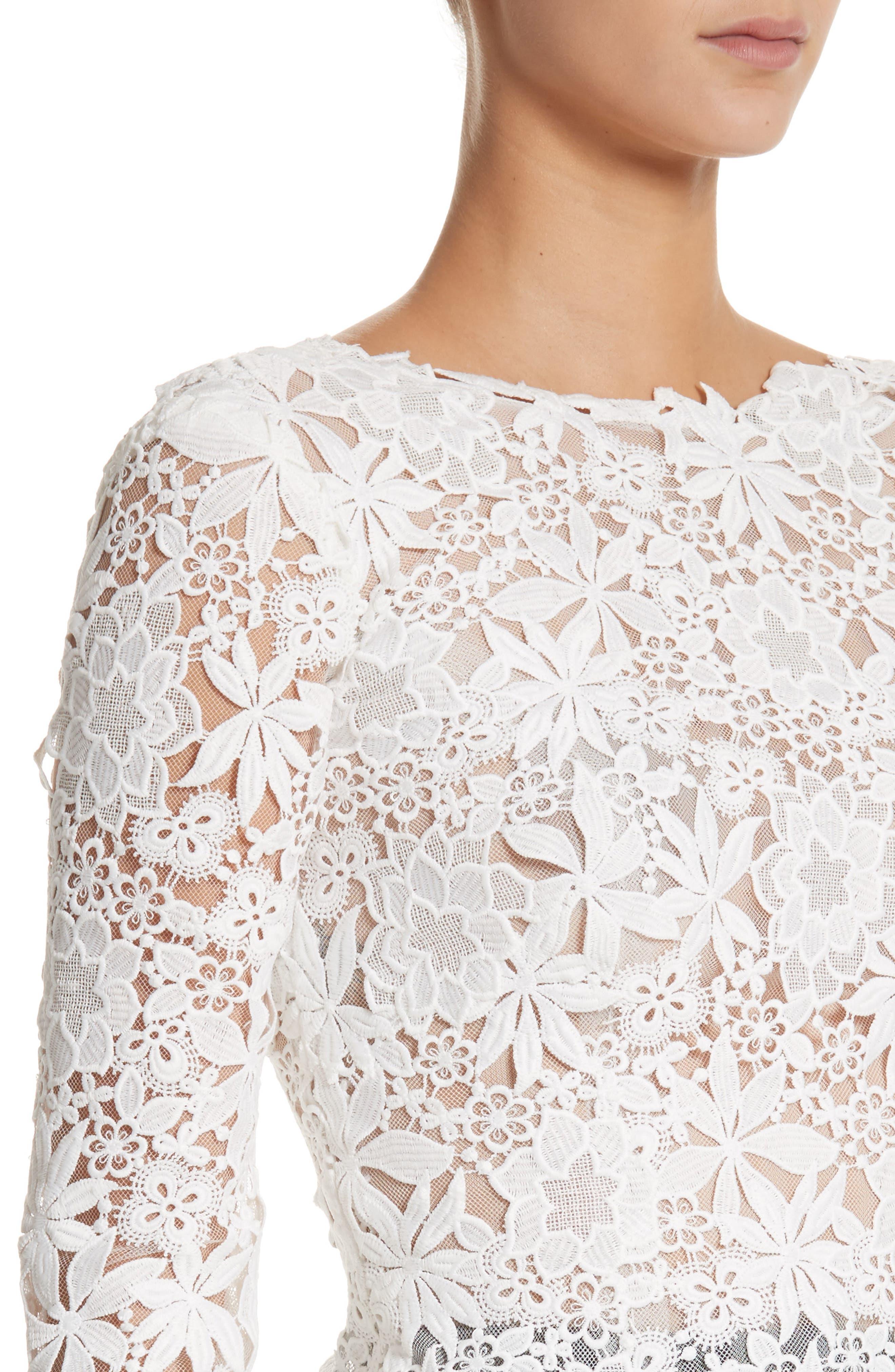 Guipure Lace Top,                             Alternate thumbnail 4, color,                             Silk White