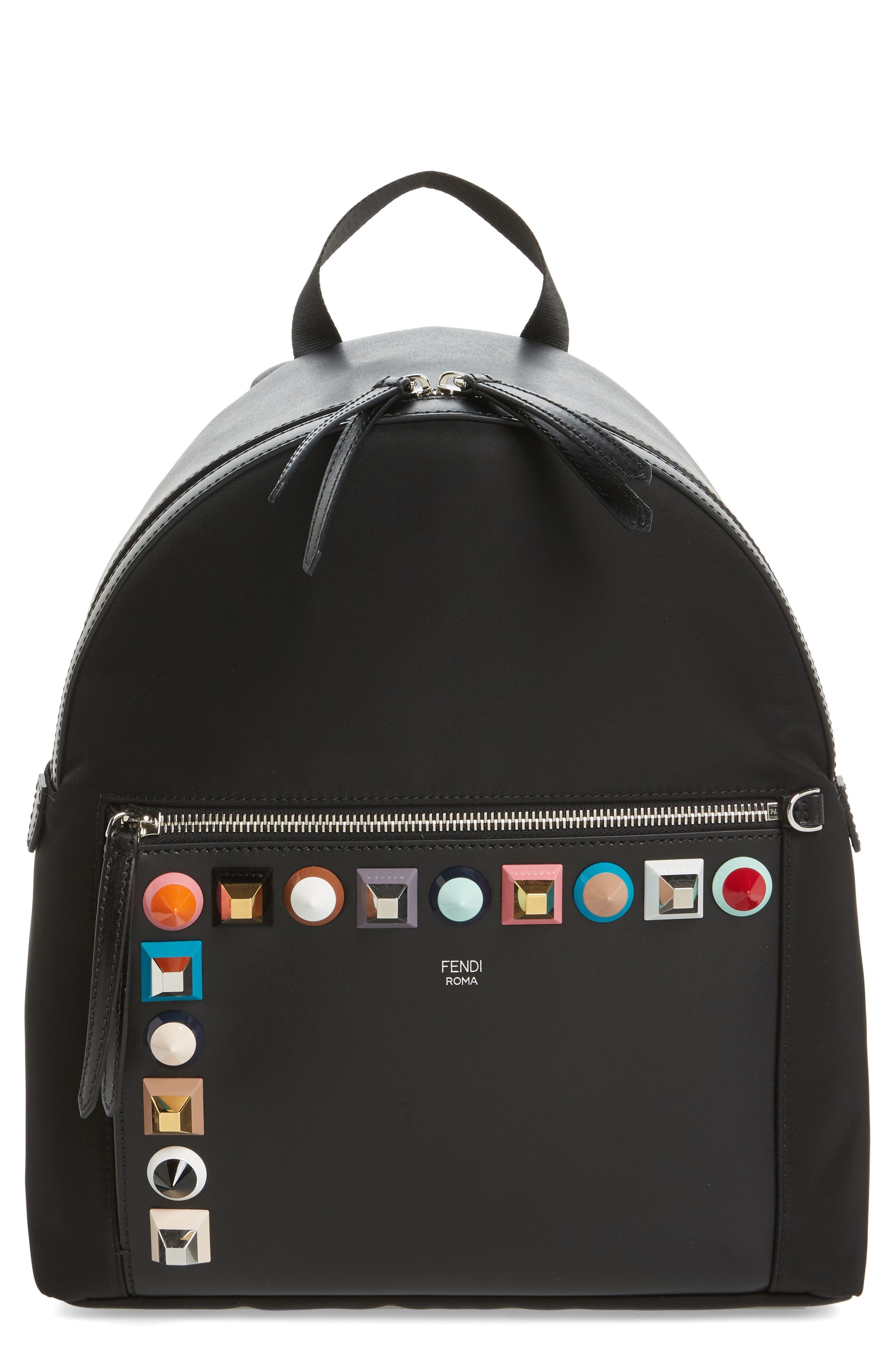 Fendi Multi Studs Nylon Backpack