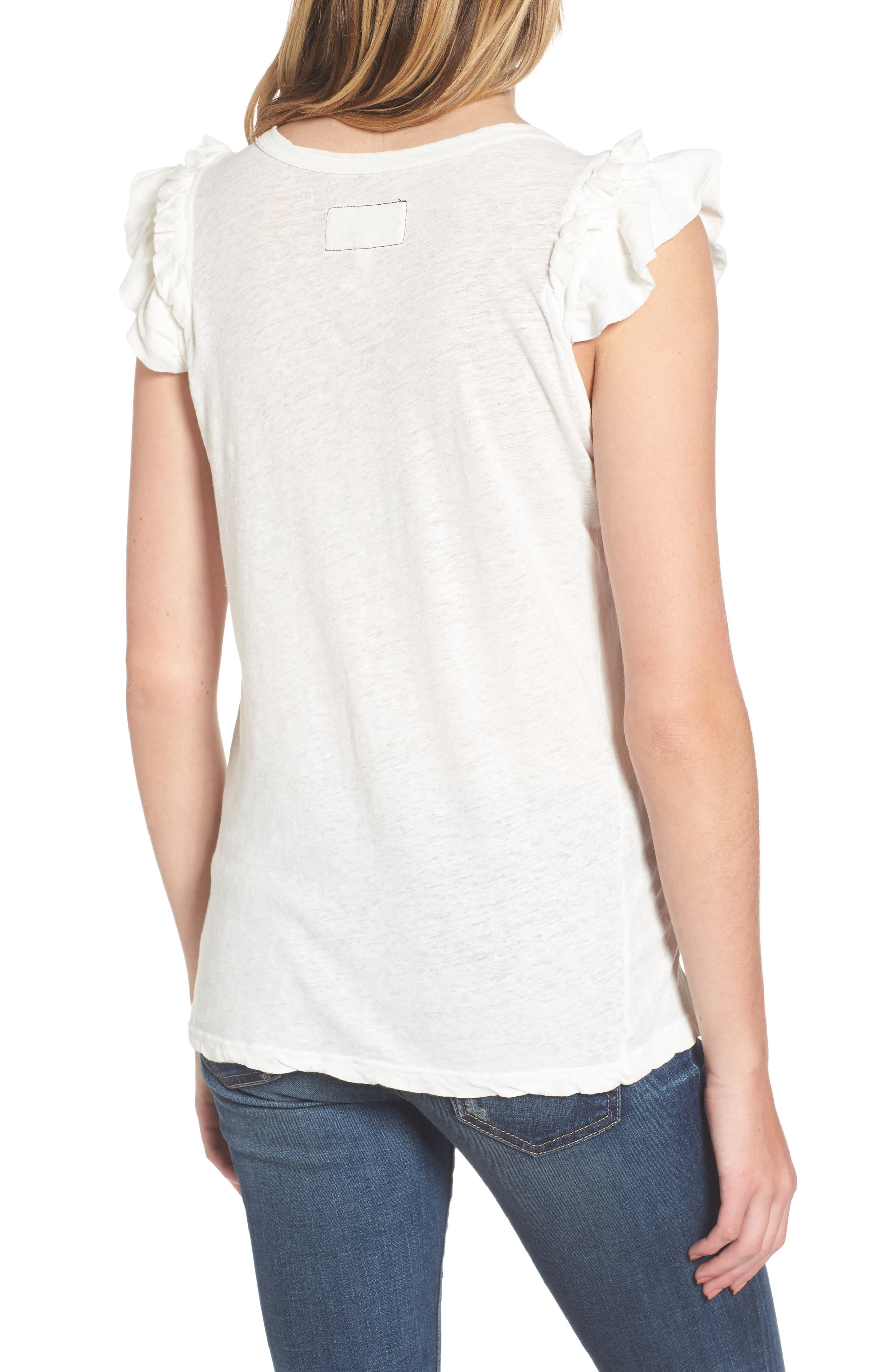 Alternate Image 2  - Current/Elliott The Double Ruffle Muscle Tee