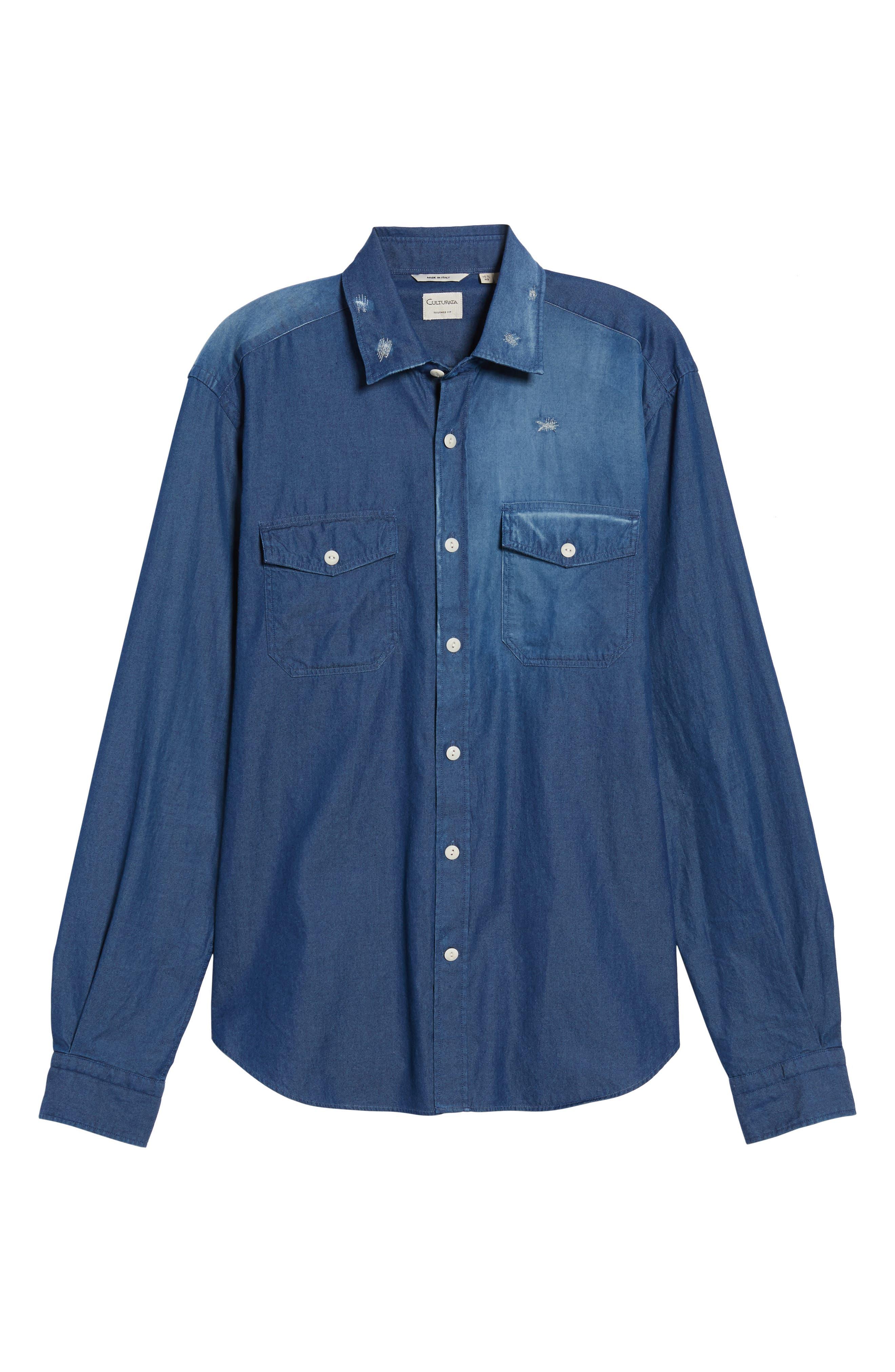 Italian Fade Wash Sport Shirt,                             Alternate thumbnail 6, color,                             Blue