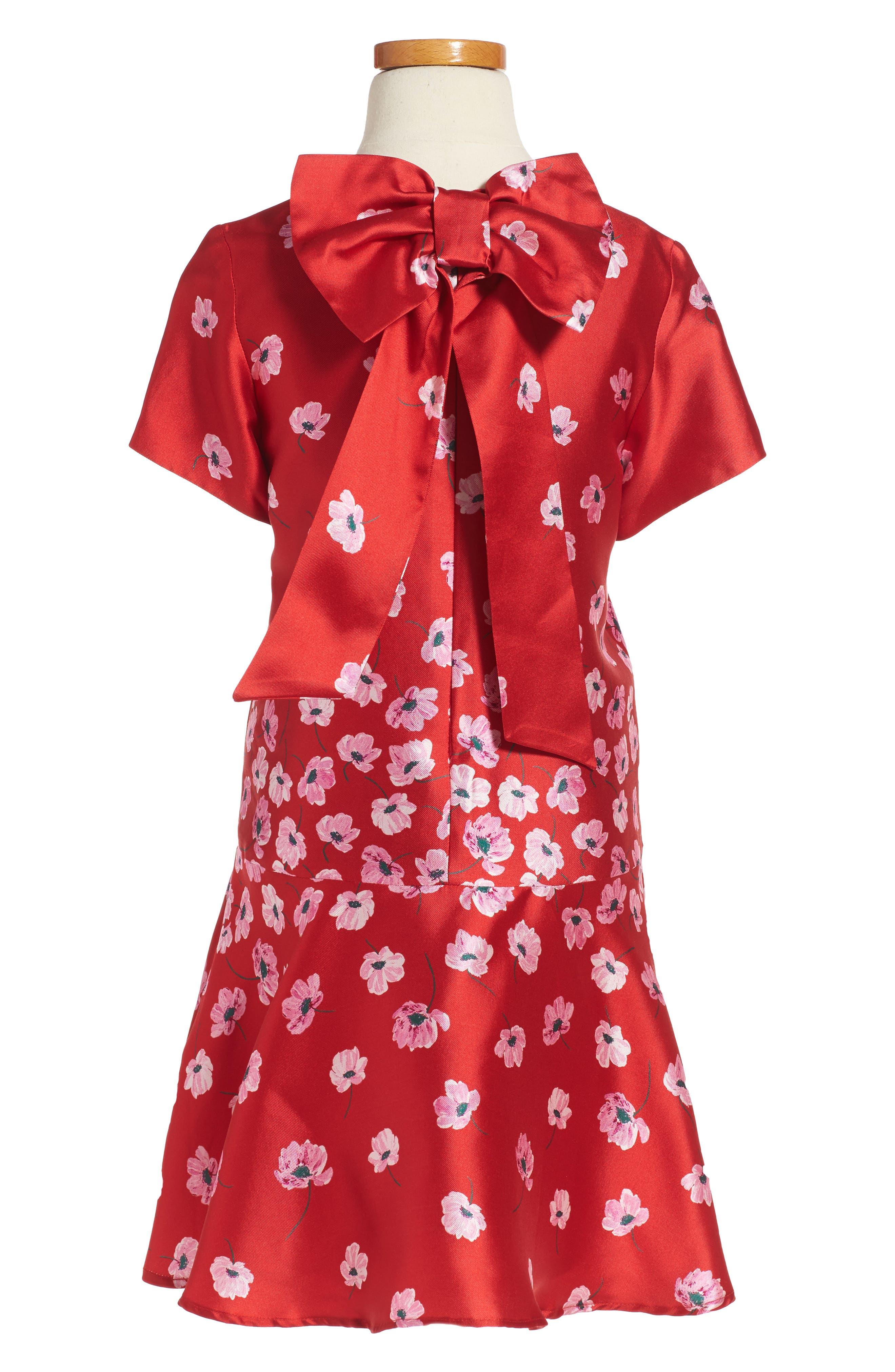 Alternate Image 2  - Oscar de la Renta Poppies Mikado Dress (Big Girls)