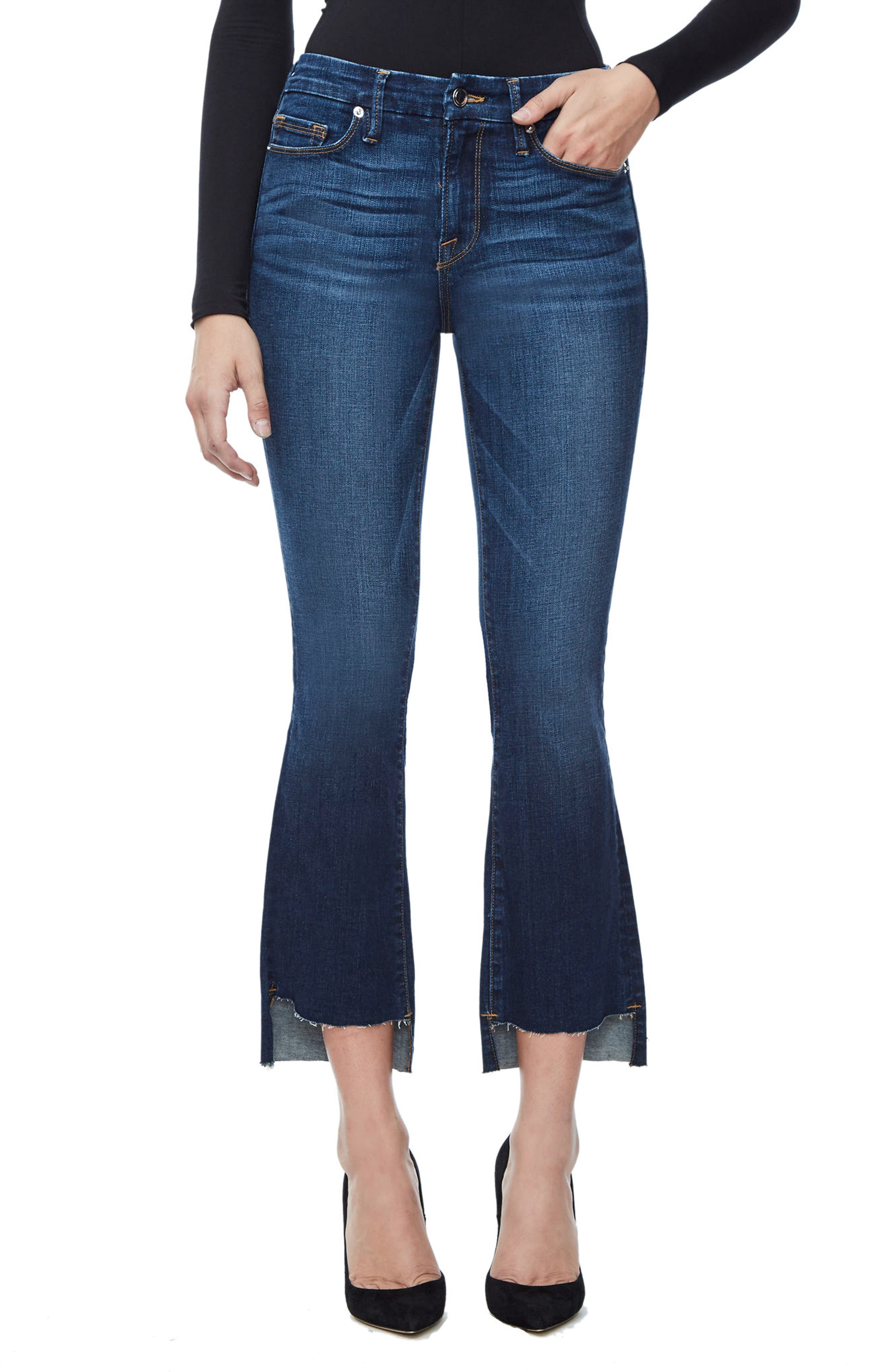 Main Image - Good American Good Boot Crop Step Hem Bootcut Jeans (Blue 091) (Extended Sizes)