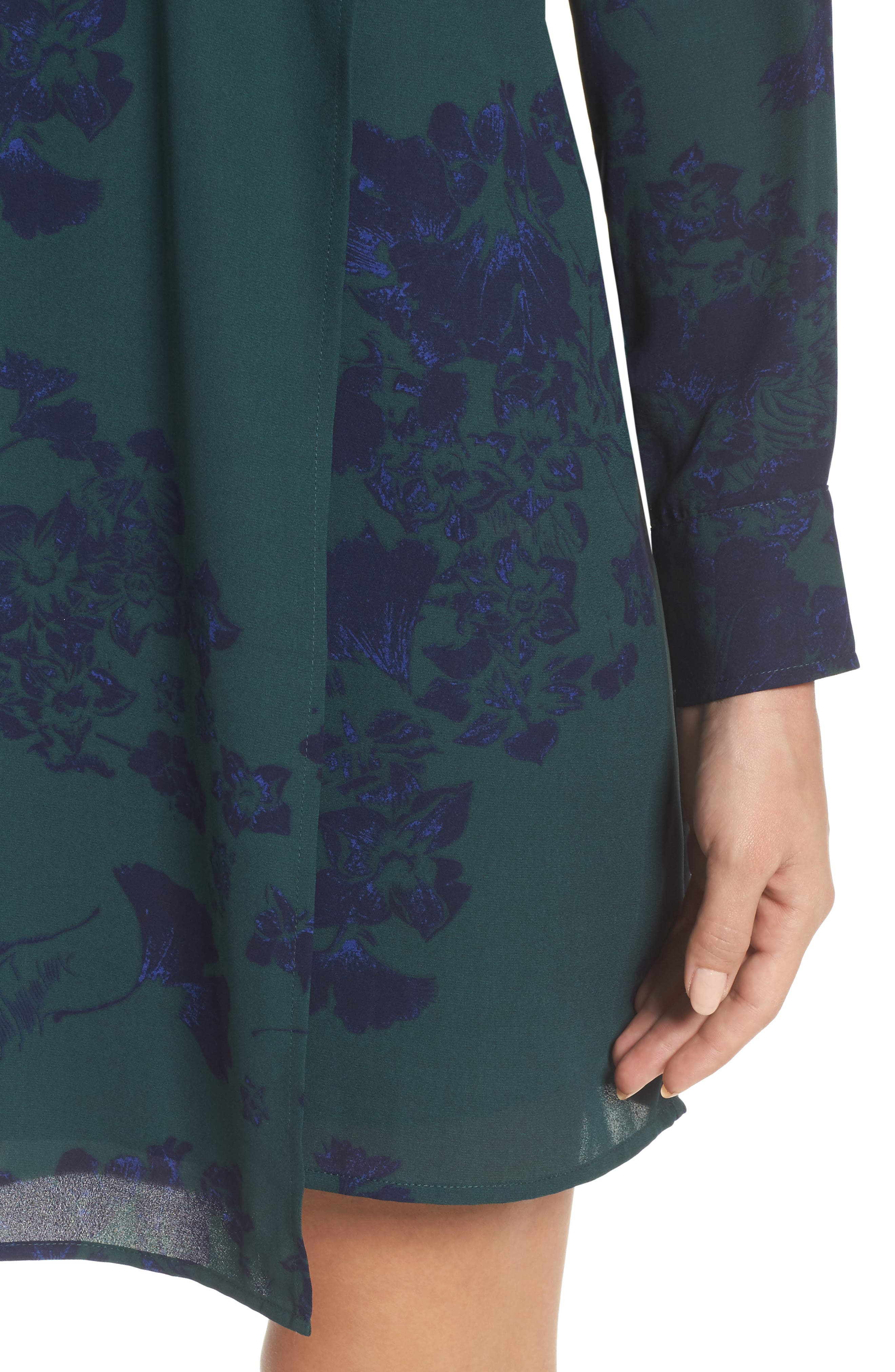 Crossover Shift Dress,                             Alternate thumbnail 4, color,                             Green Fall Floral