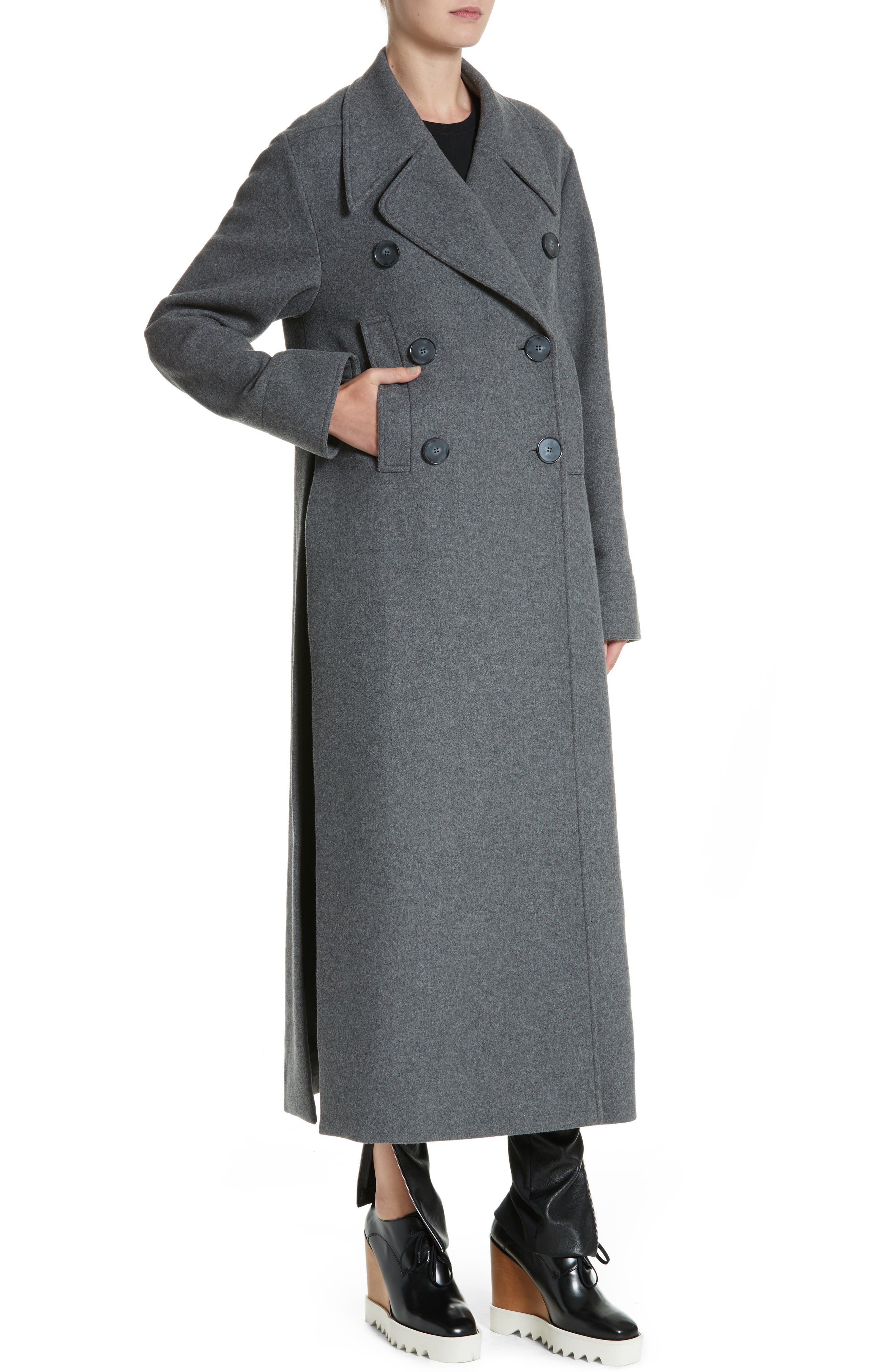 Edwina Long Double Breasted Wool Blend Coat,                             Alternate thumbnail 4, color,                             Graphite