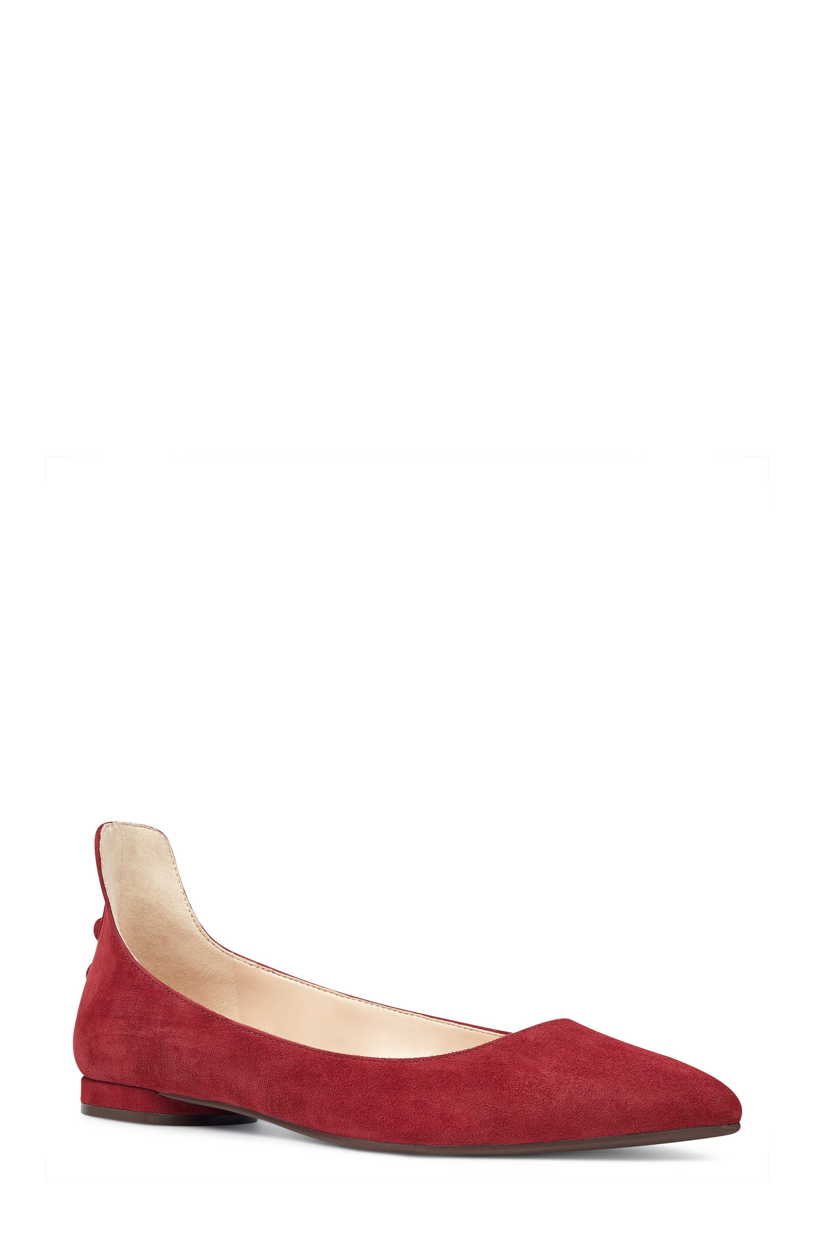 Owl Skimmer Flat,                         Main,                         color, Red Suede