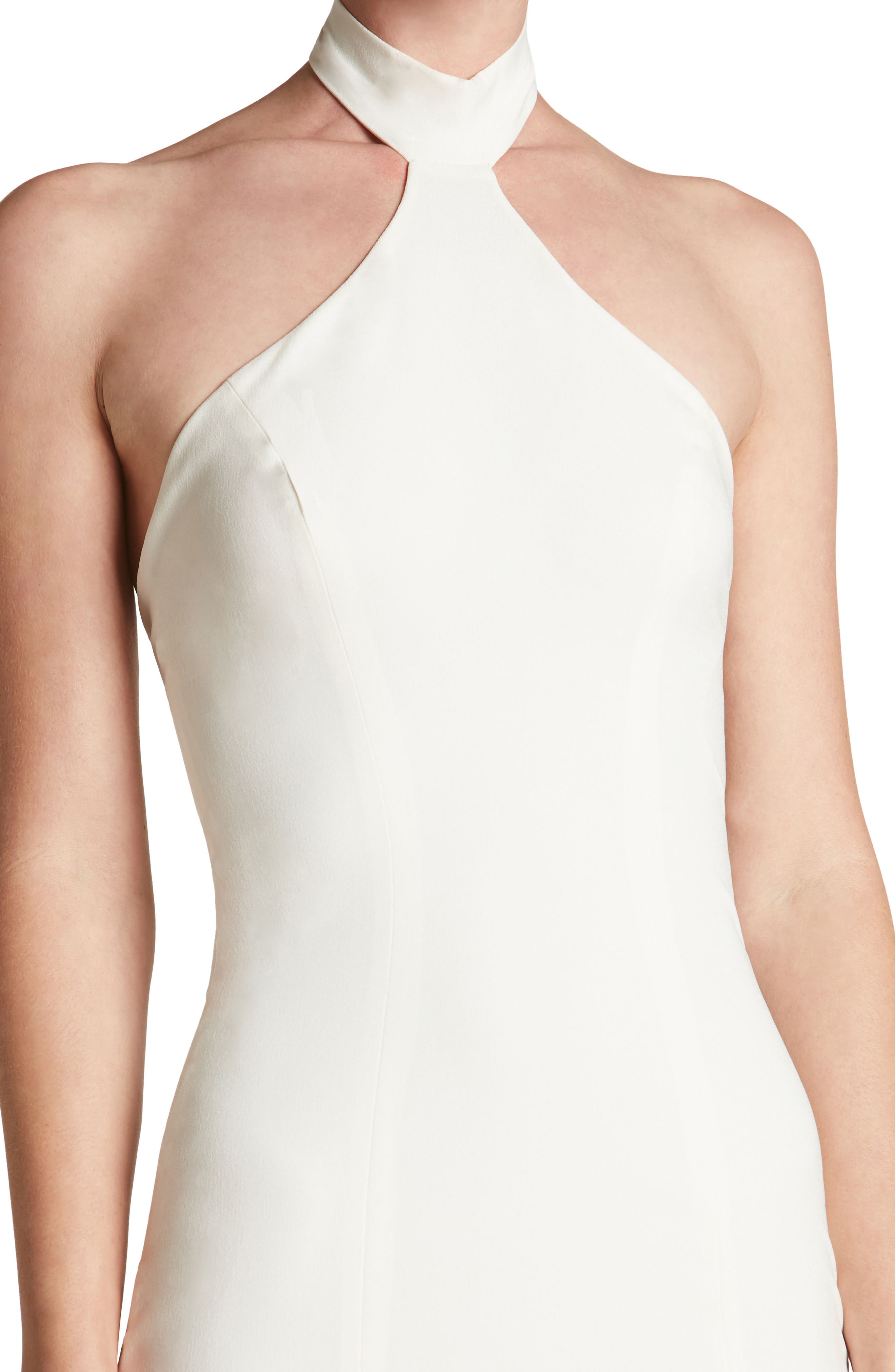 Taylor Crepe Halter Gown,                             Alternate thumbnail 4, color,                             Off White