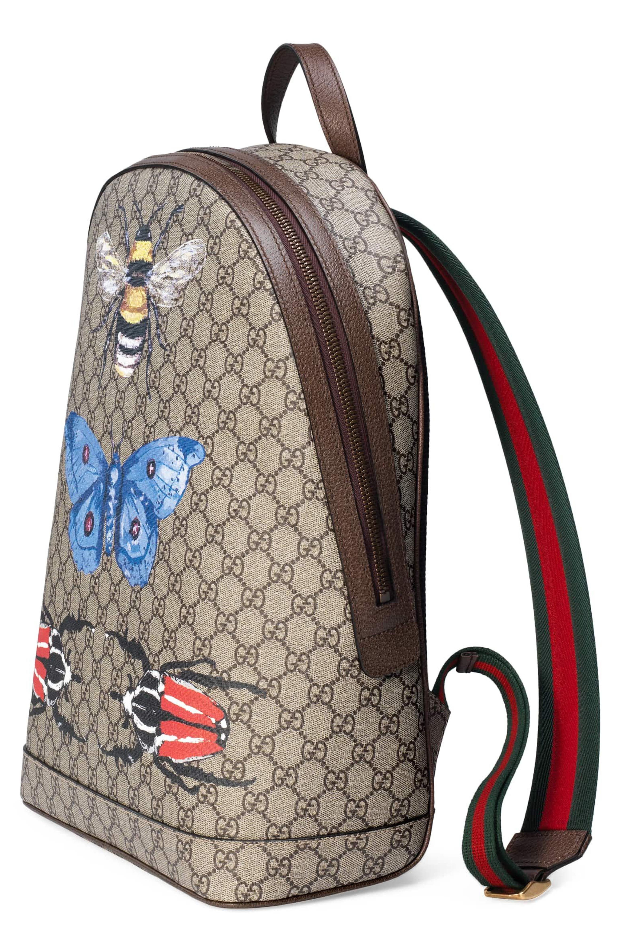Alternate Image 4  - Gucci Insect Print GG Supreme Canvas Backpack