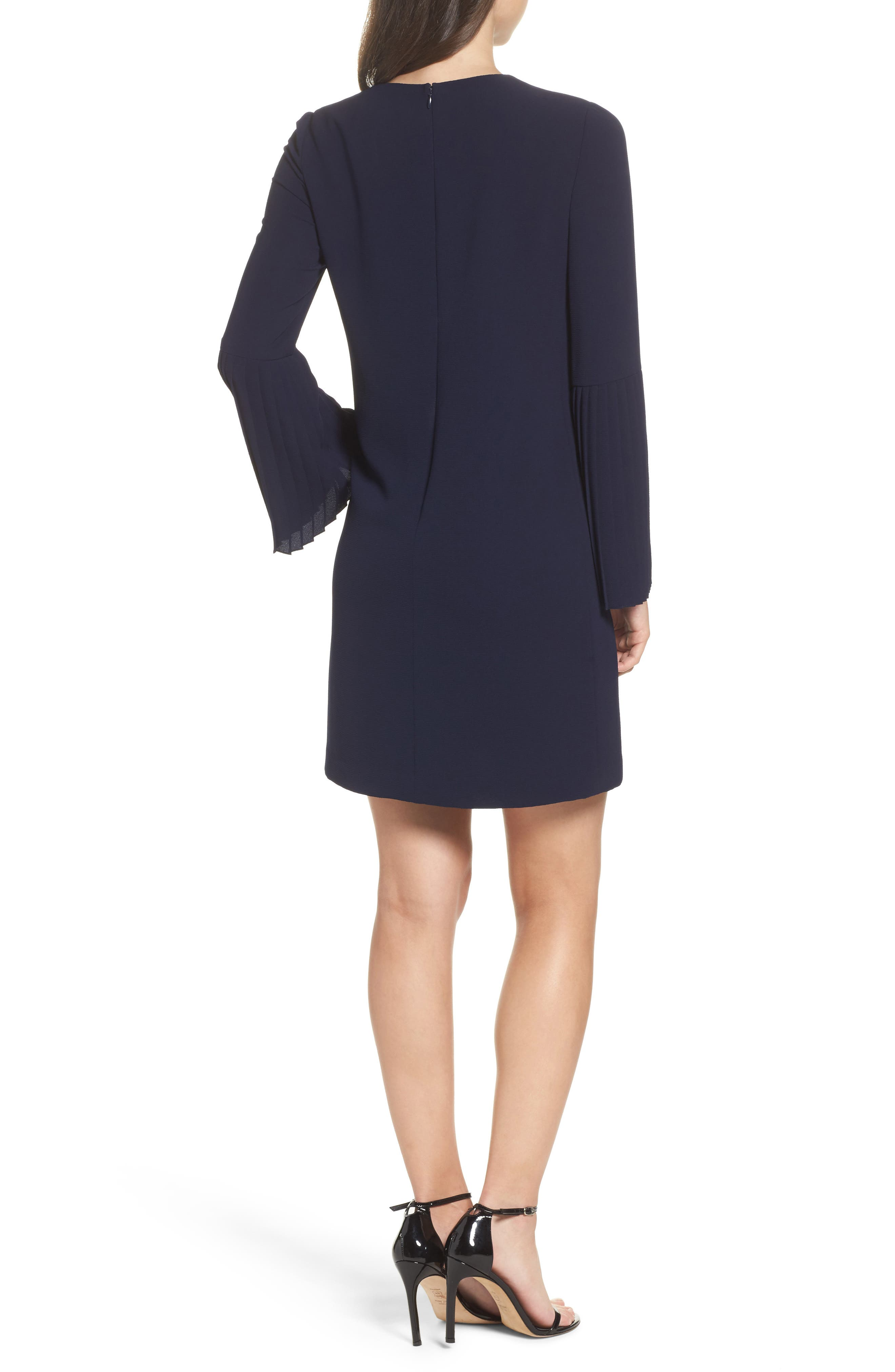 Bell Sleeve Shift Dress,                             Alternate thumbnail 2, color,                             Galaxy Blue