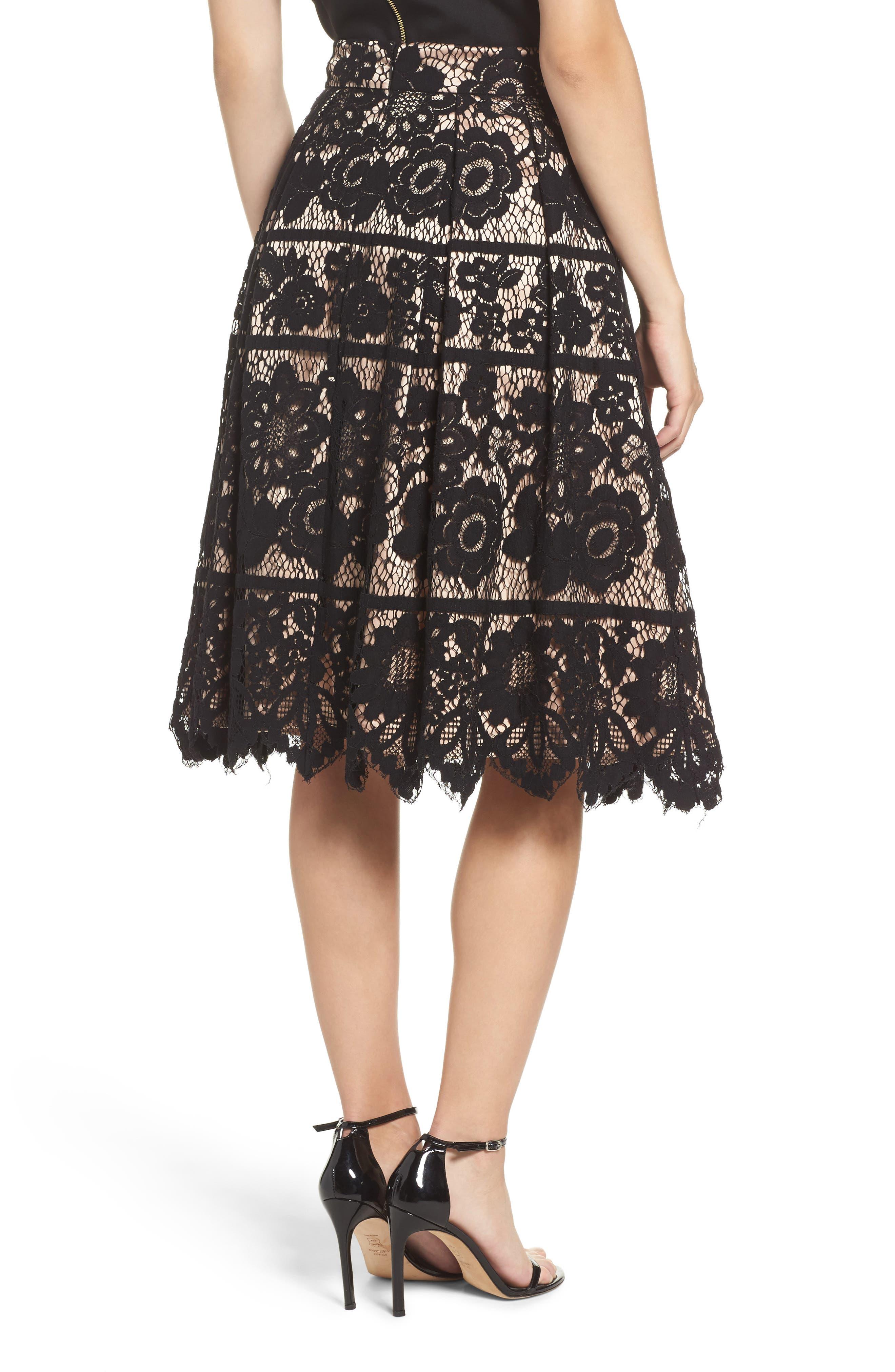 Pleated Lace Skirt,                             Alternate thumbnail 2, color,                             Black/ Nude