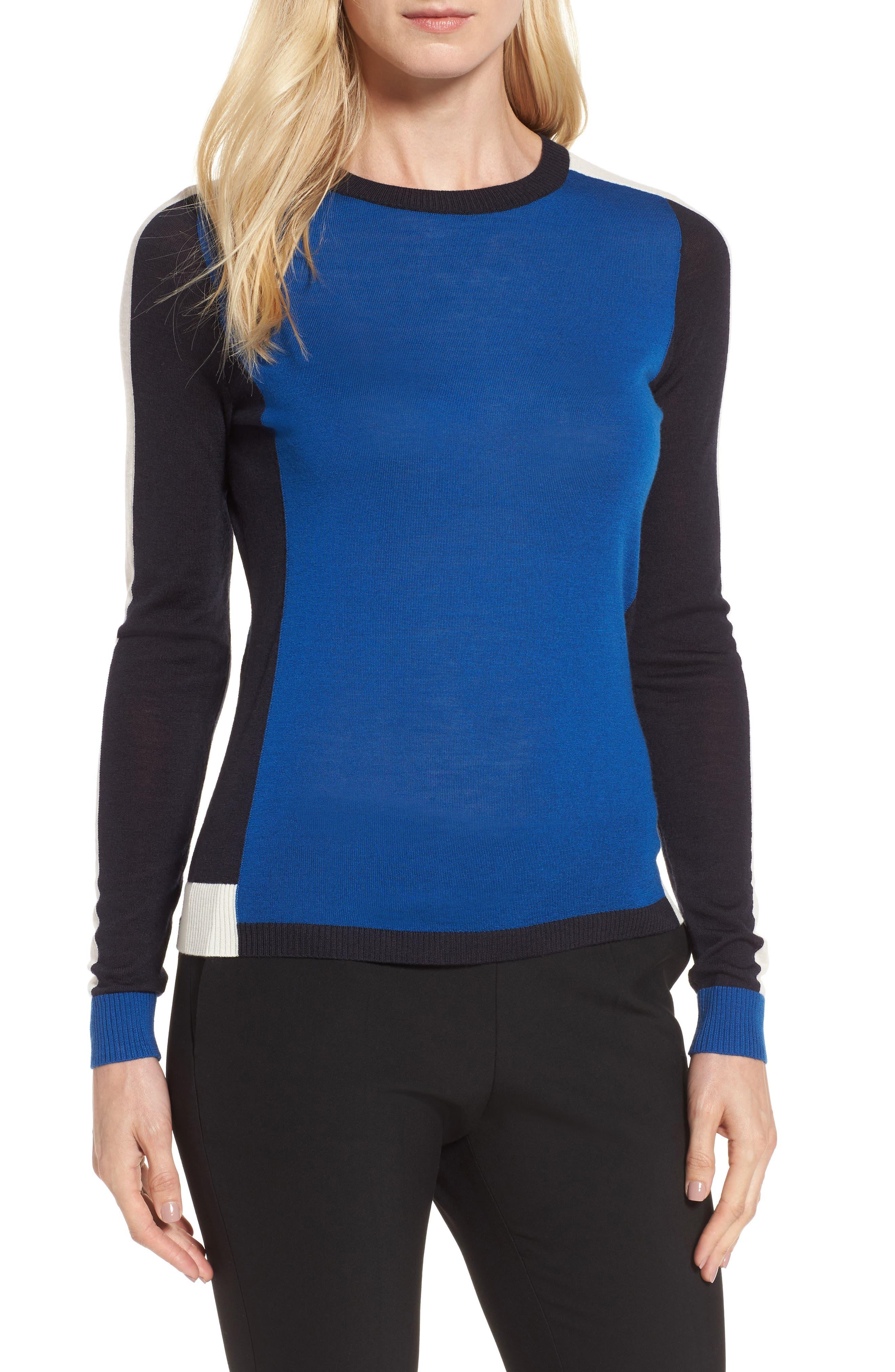 Alternate Image 1 Selected - BOSS Ferda Colorblock Wool Sweater