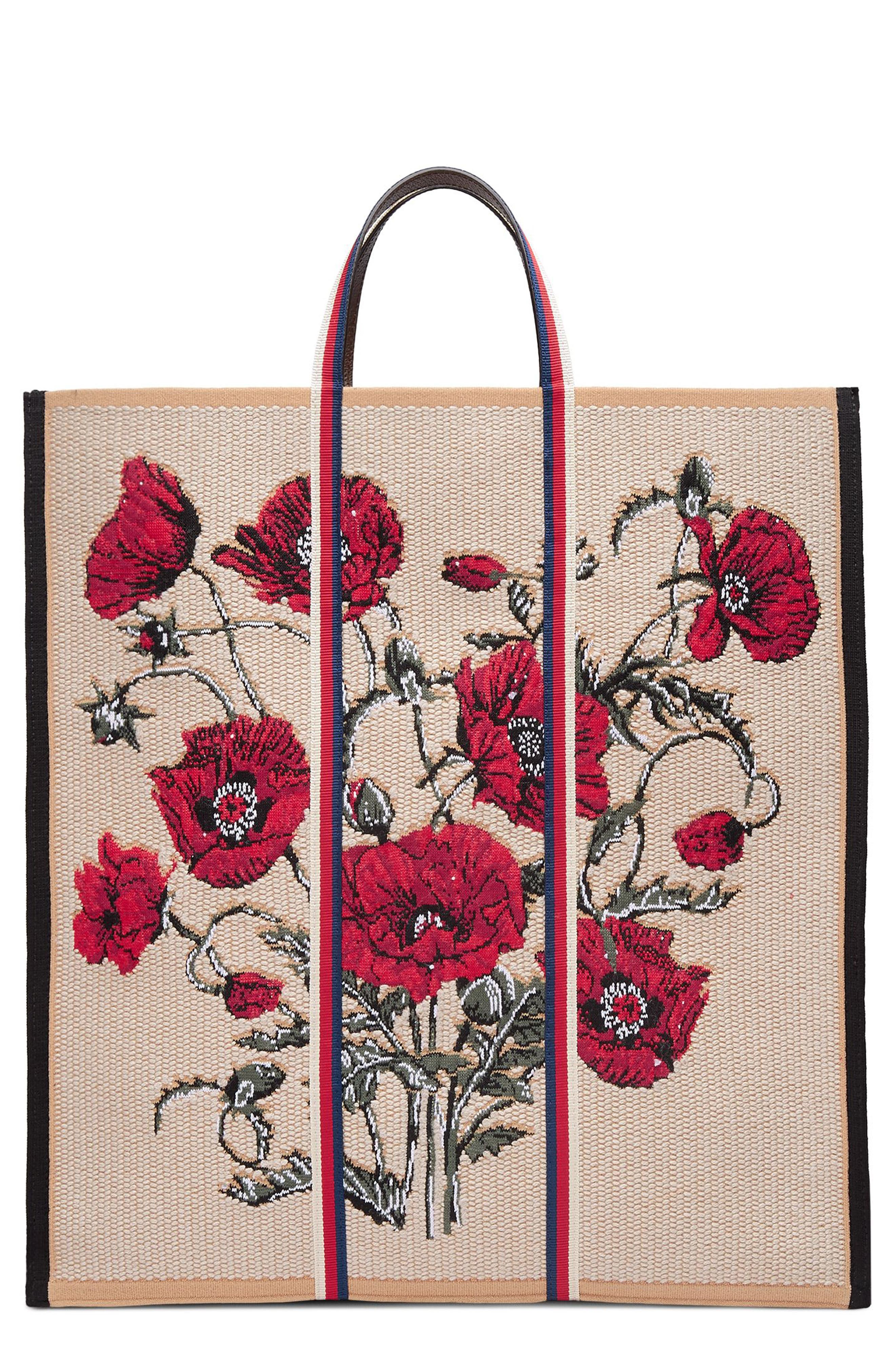 GUCCI Embroidered Poppies Canvas Top Handle Tote