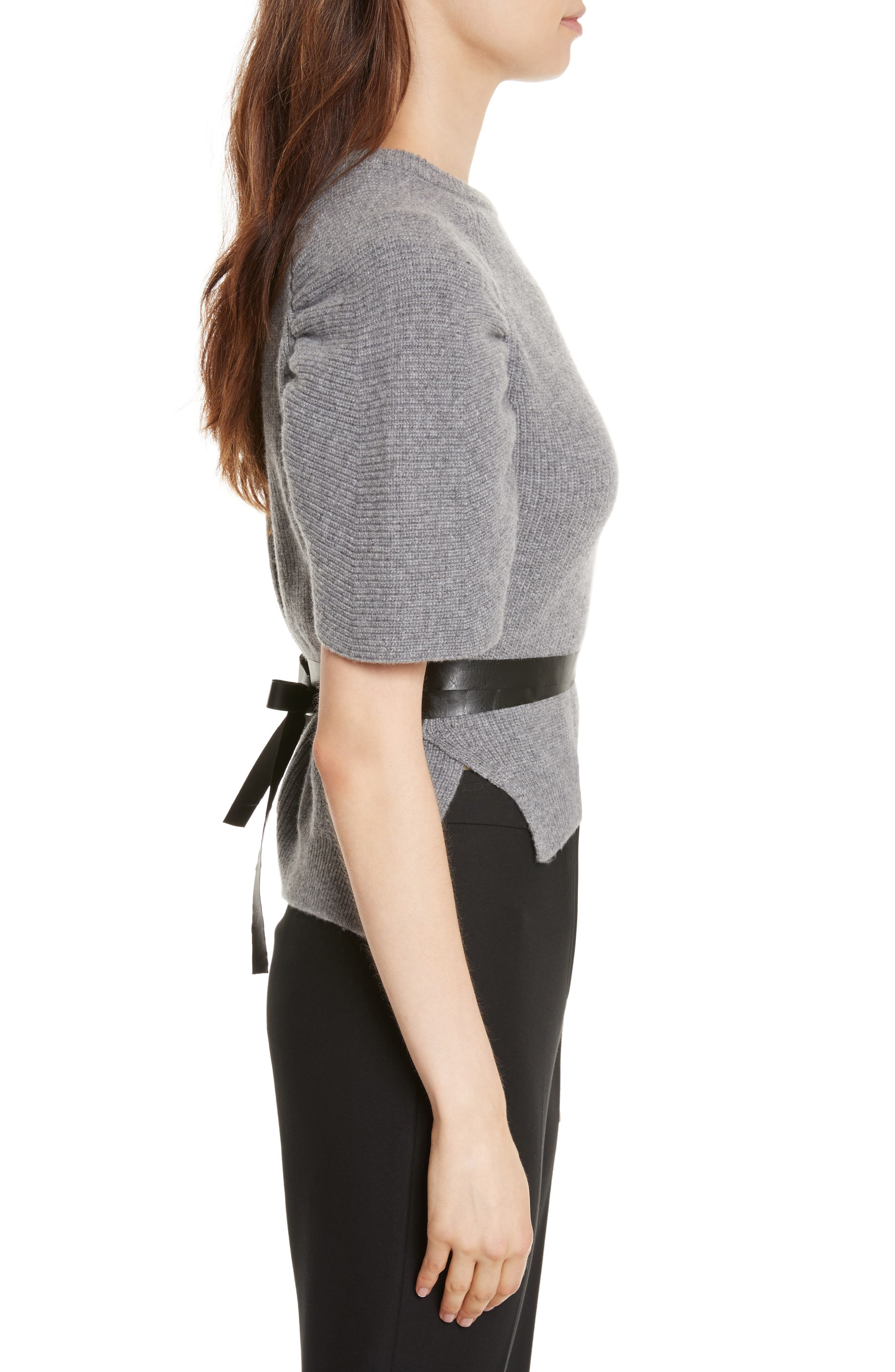 Belted Carded Wool Sweater,                             Alternate thumbnail 3, color,                             Ardesia