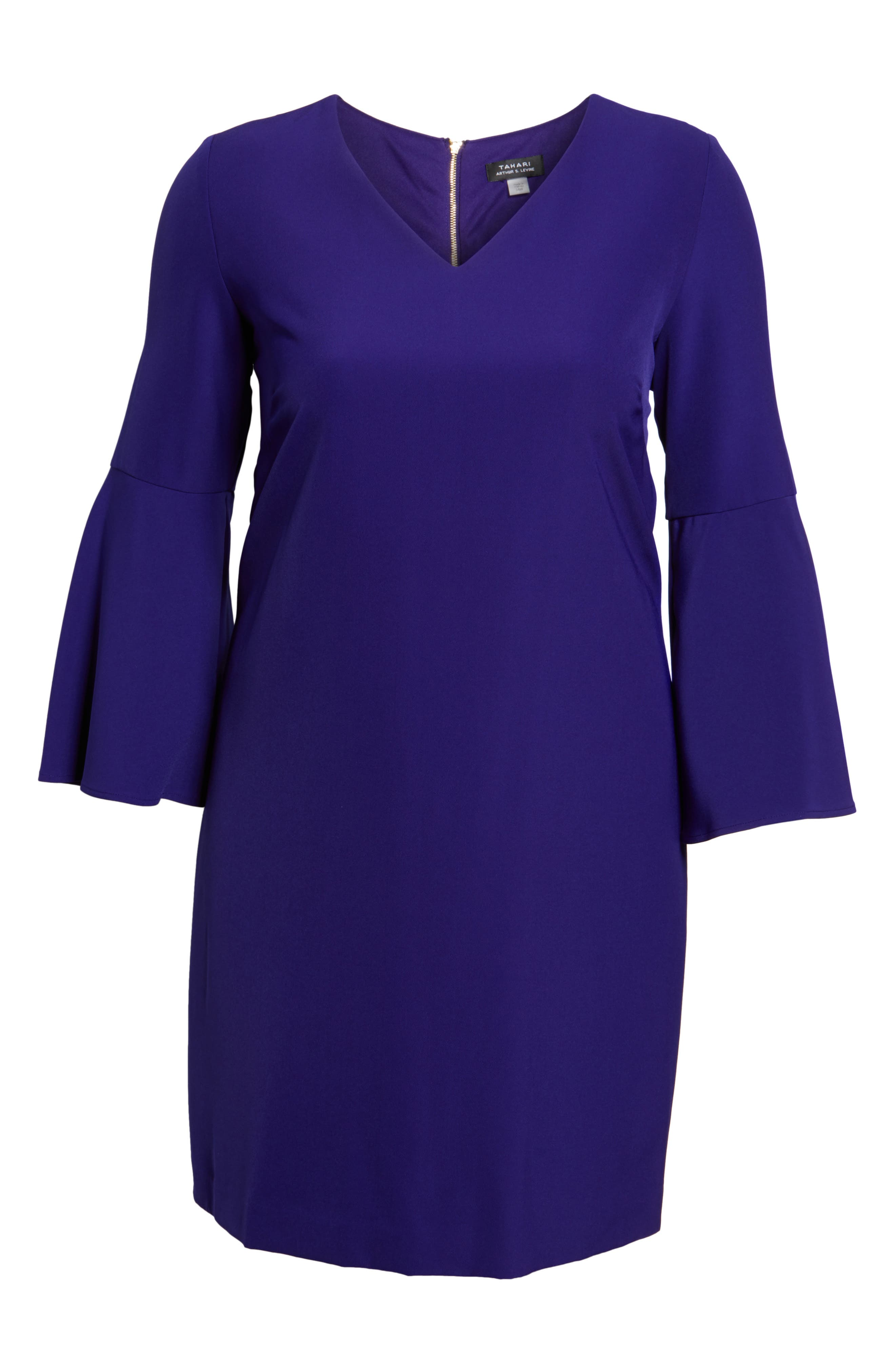Bell Sleeve Crepe Shift Dress,                             Alternate thumbnail 6, color,                             Violet