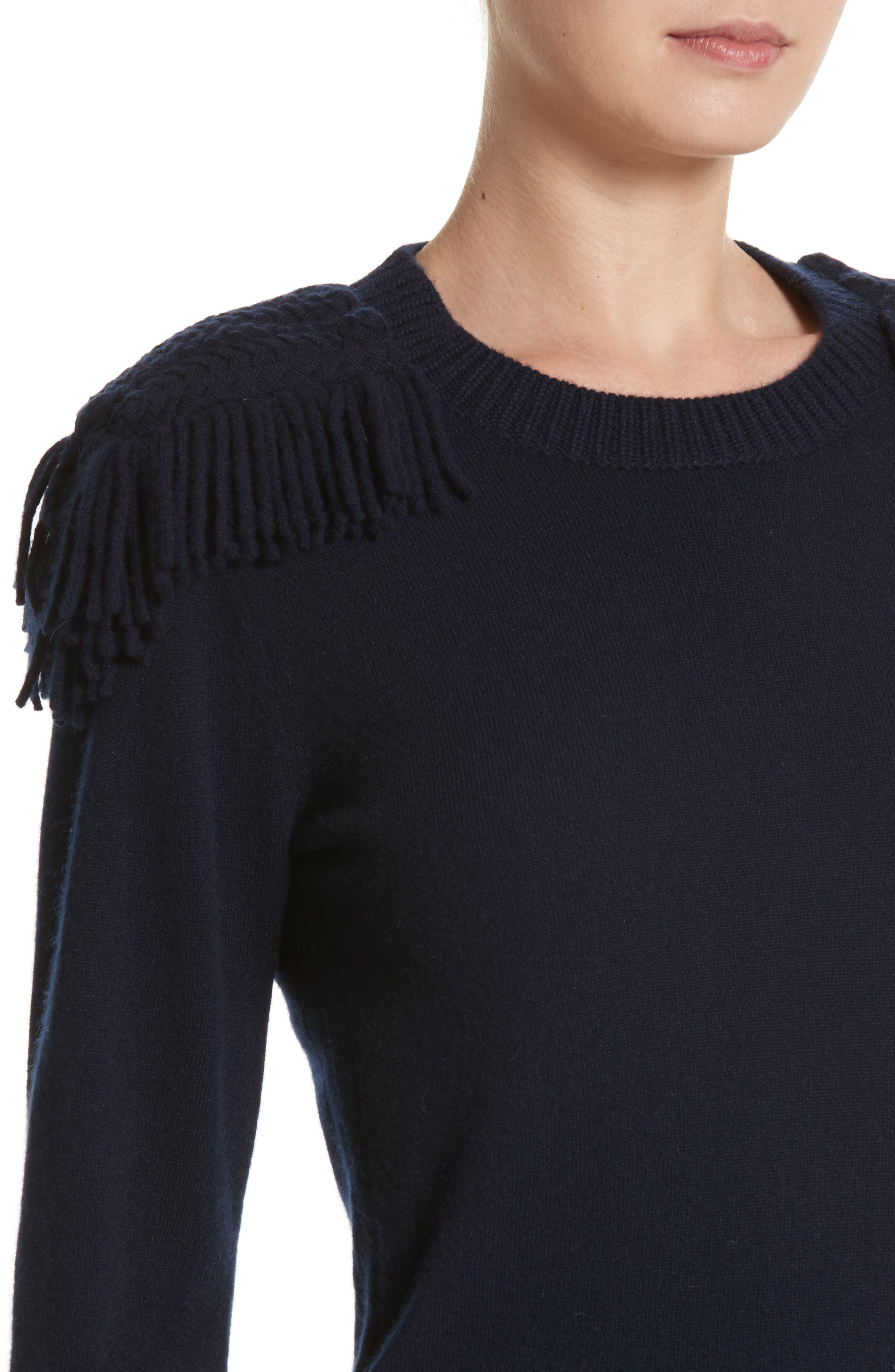 Alternate Image 4  - Burberry Livenza Wool & Cashmere Fringe Sweater