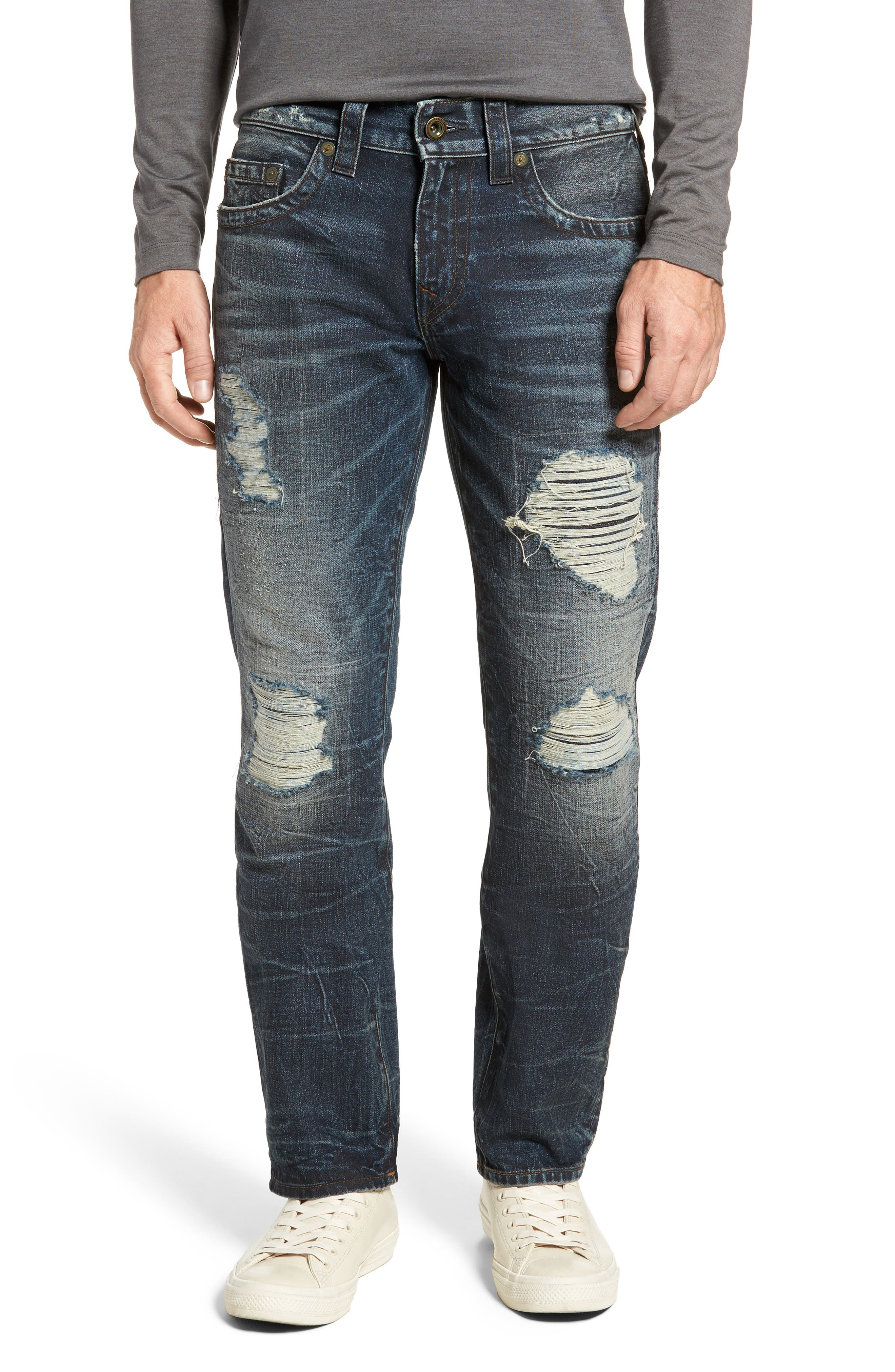 True Religion Brand Jeans Geno Straight Fit Jeans (Patched Rider)