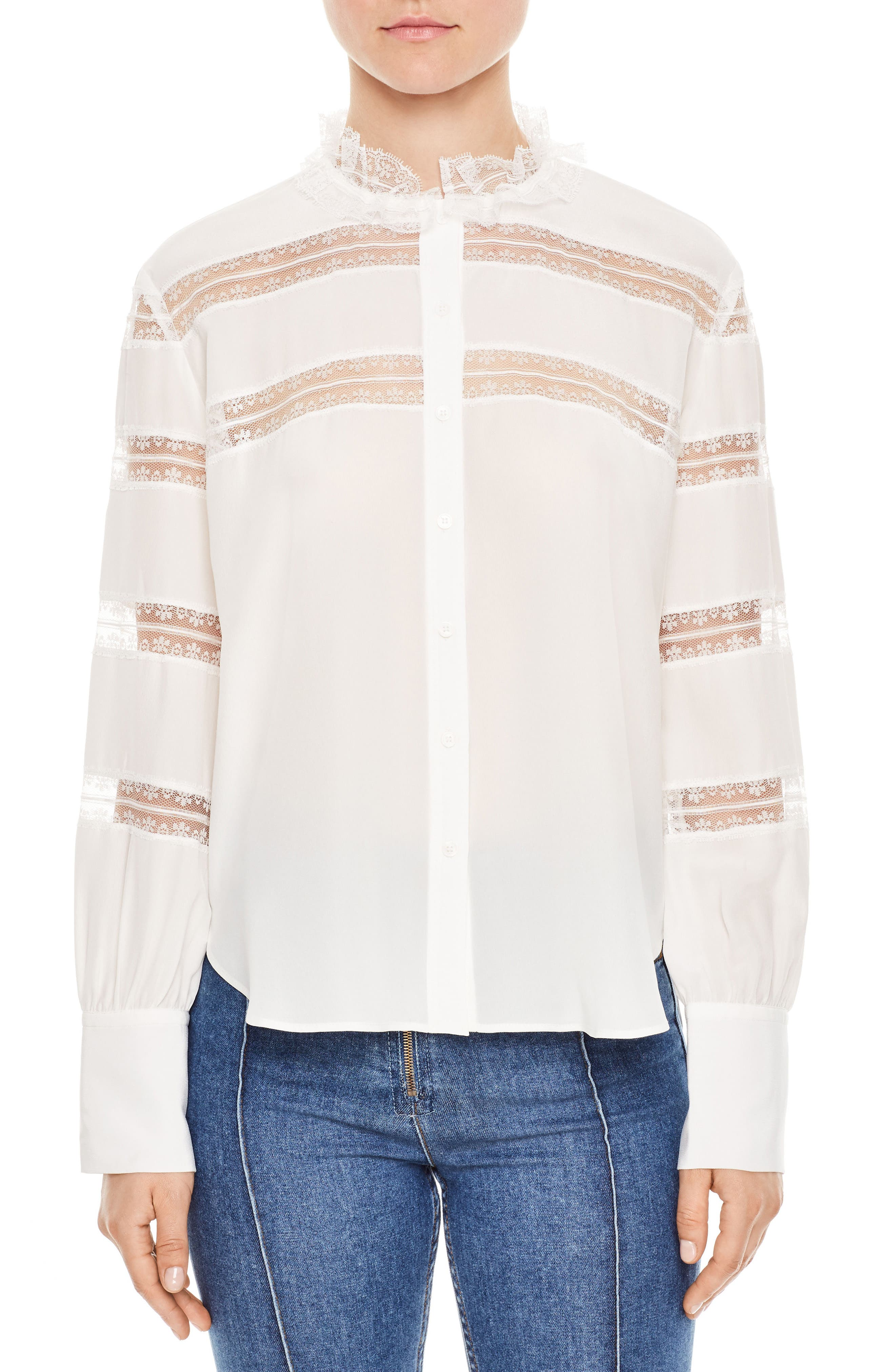sandro Lace Inset Silk Blouse
