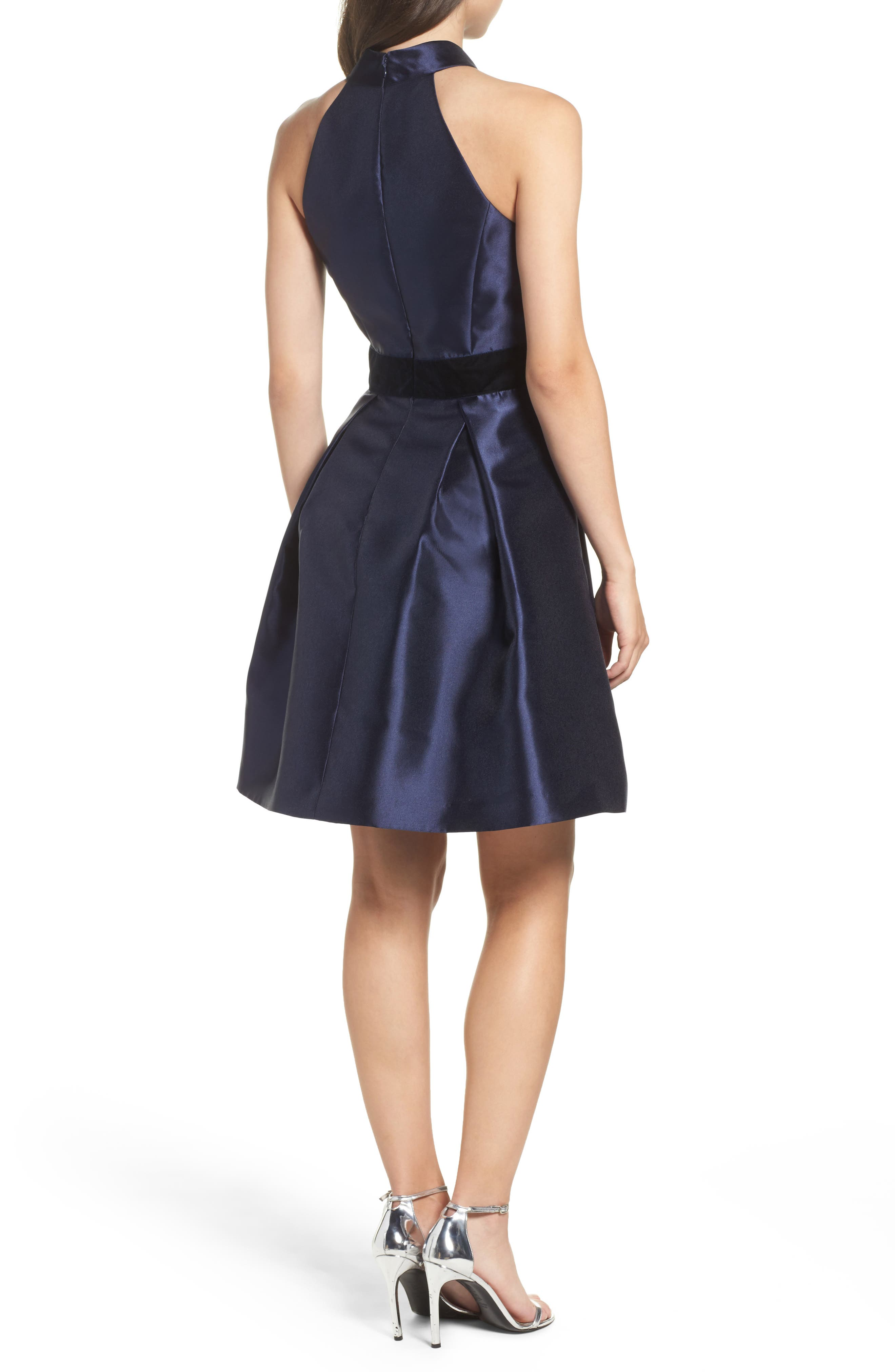 Alternate Image 2  - Eliza J Halter Fit & Flare Dress (Regular & Petite)