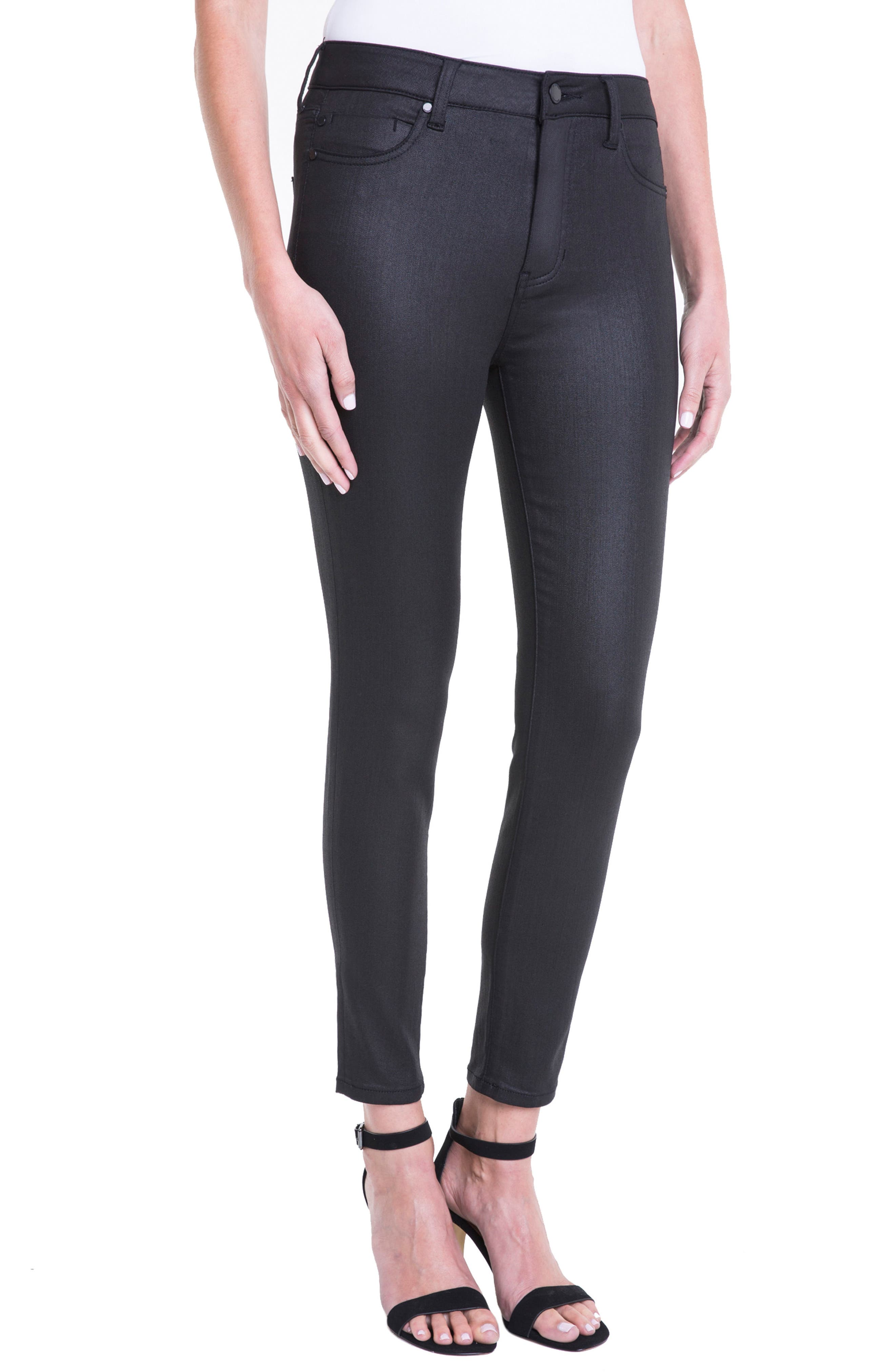 Bridget Coated High Waist Skinny Jeans,                             Alternate thumbnail 6, color,                             Black
