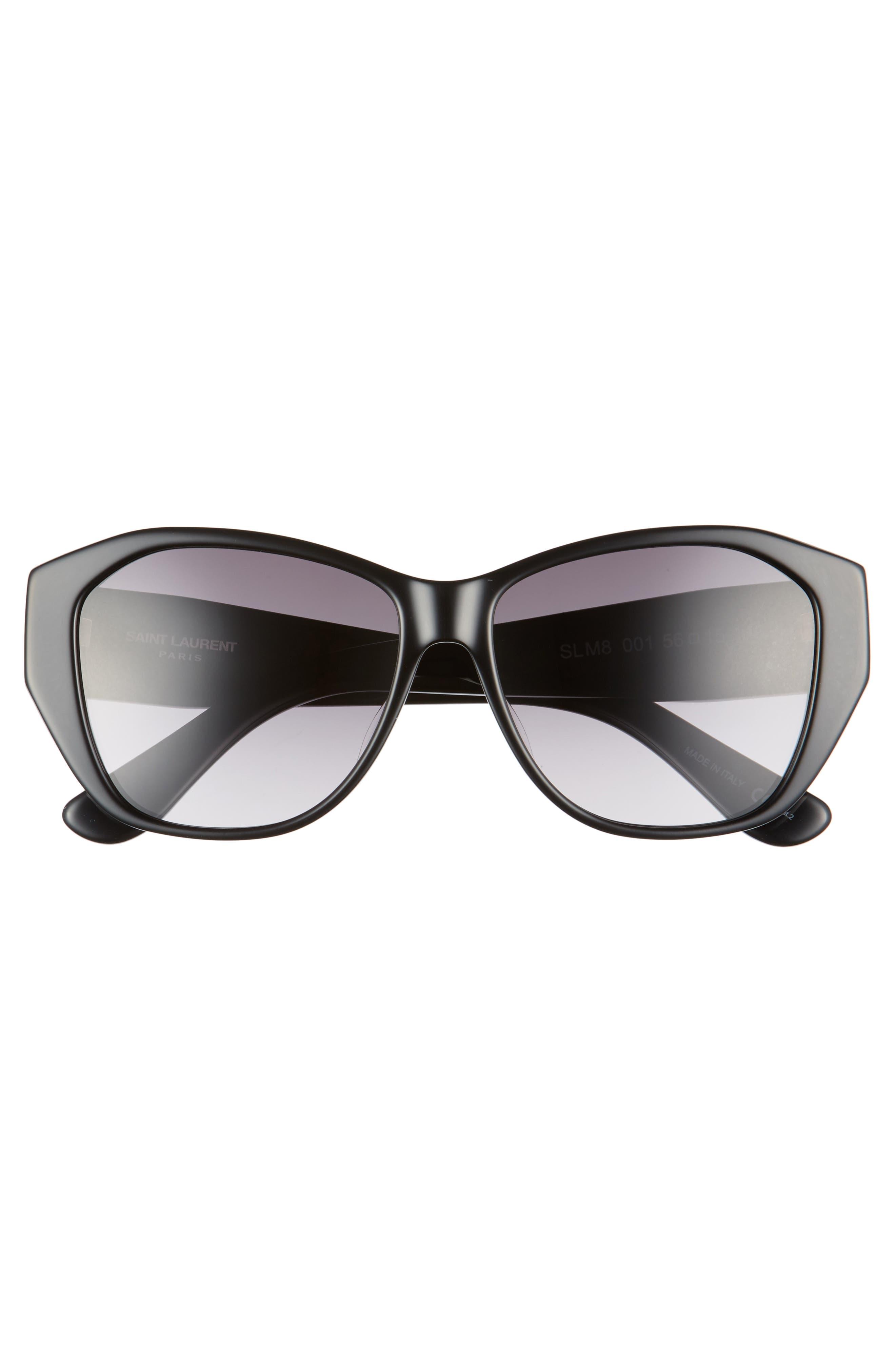 56mm Sunglasses,                             Alternate thumbnail 3, color,                             Black/ Black/ Grey