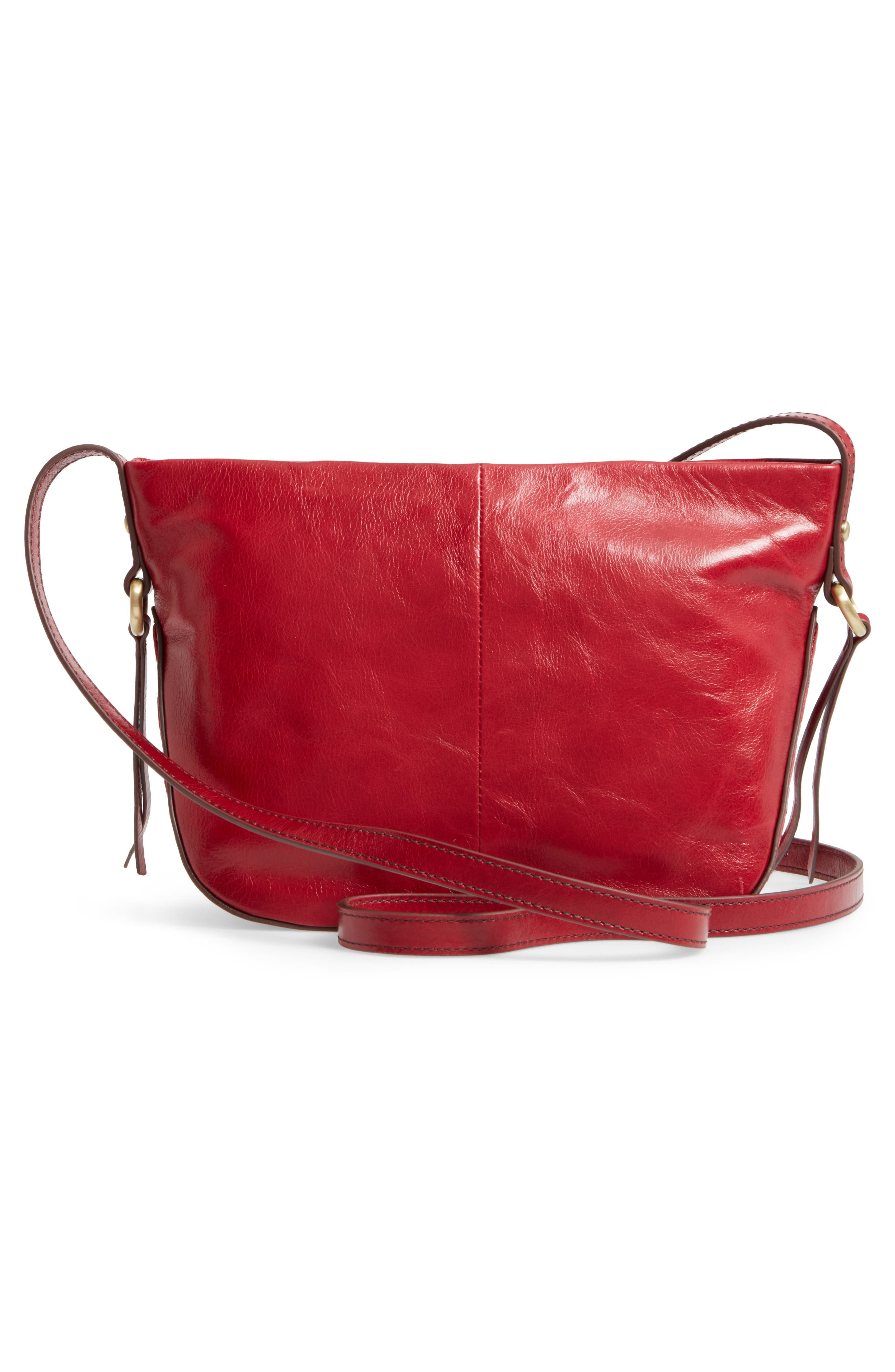 Muse Calfskin Leather Crossbody Bag,                             Alternate thumbnail 3, color,                             Cardinal