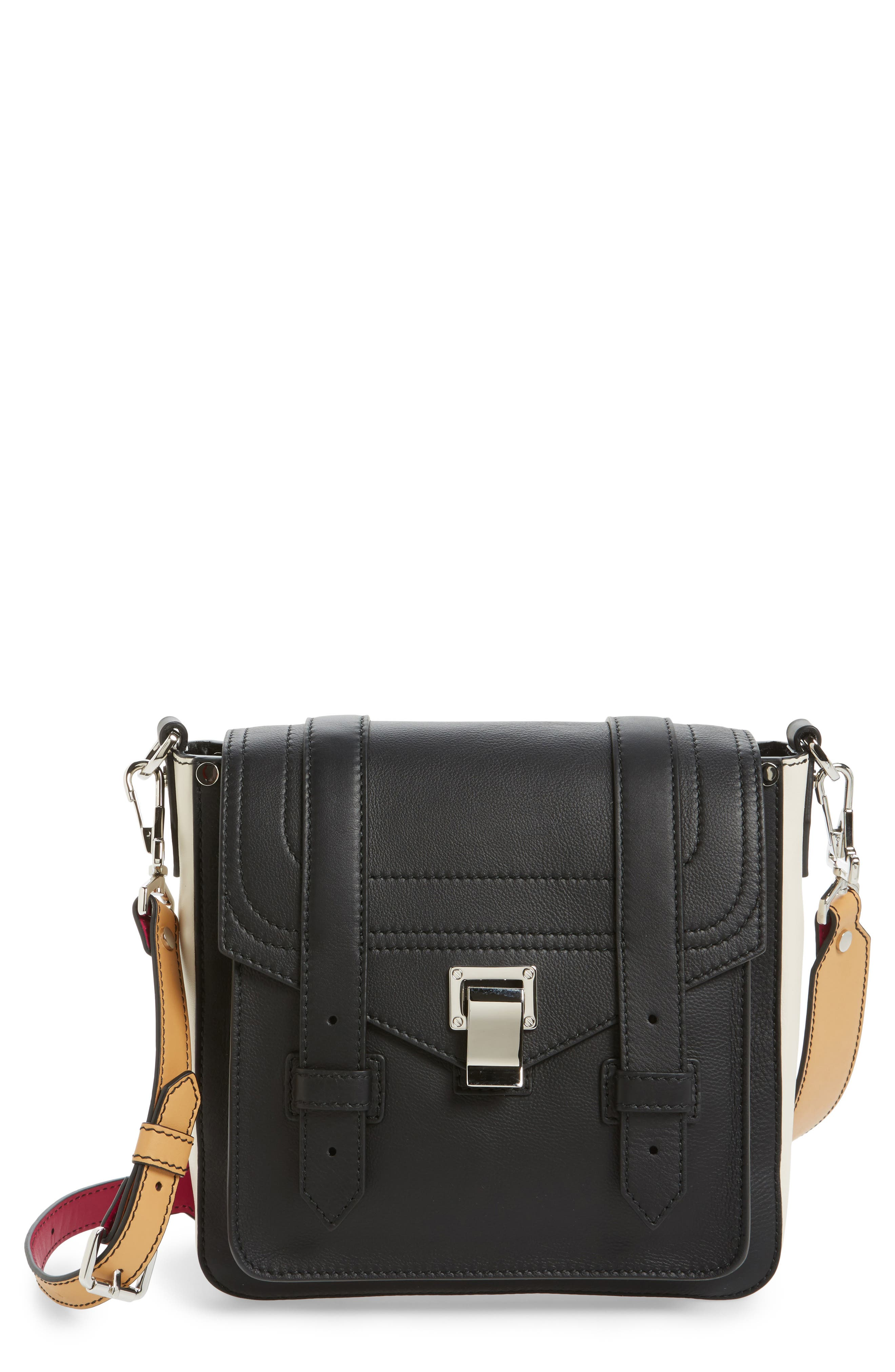 Small PS1 Calfskin Hobo,                         Main,                         color, Black/ Clay