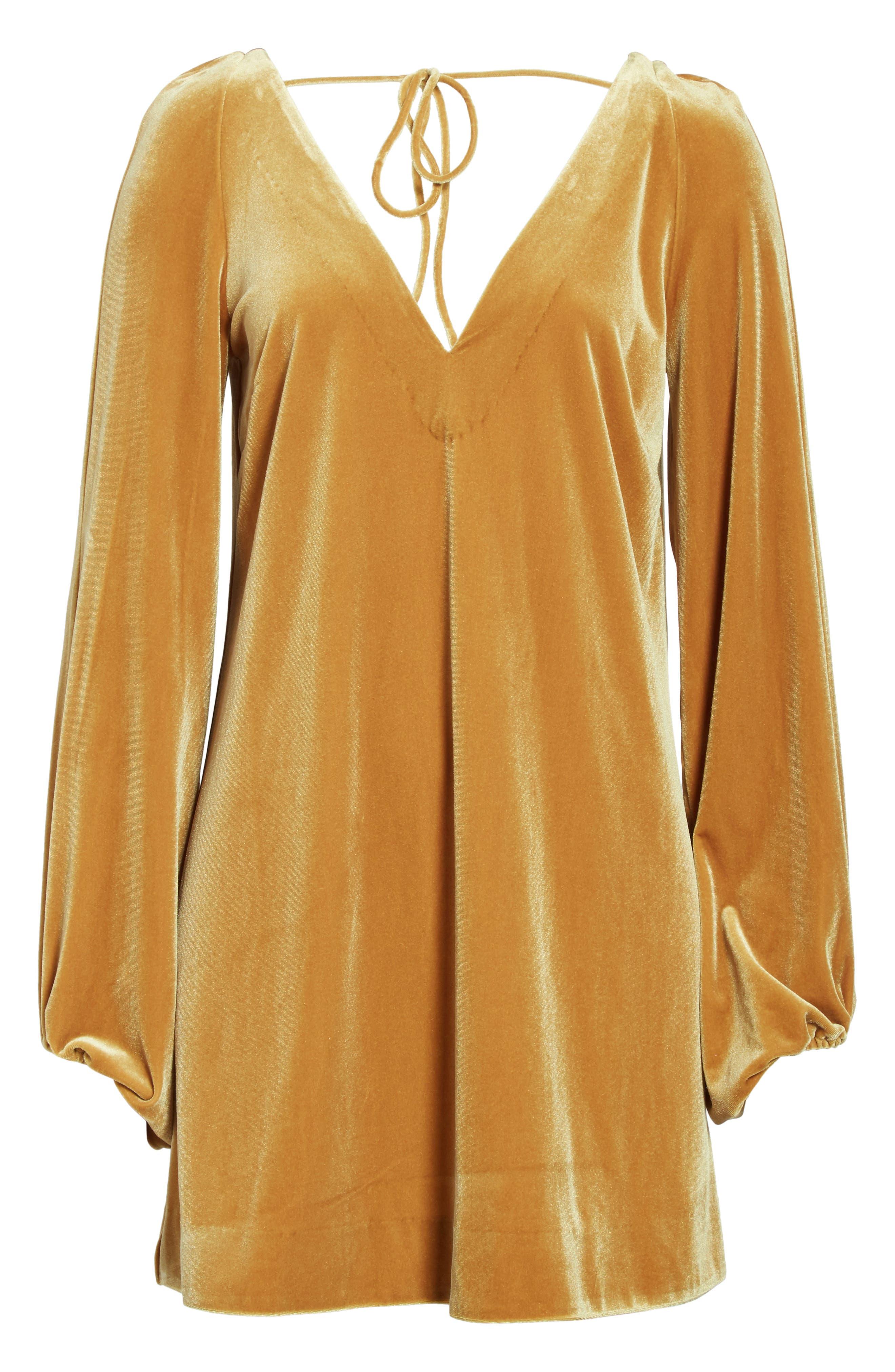 Misha Velvet Minidress,                             Alternate thumbnail 6, color,                             Gold