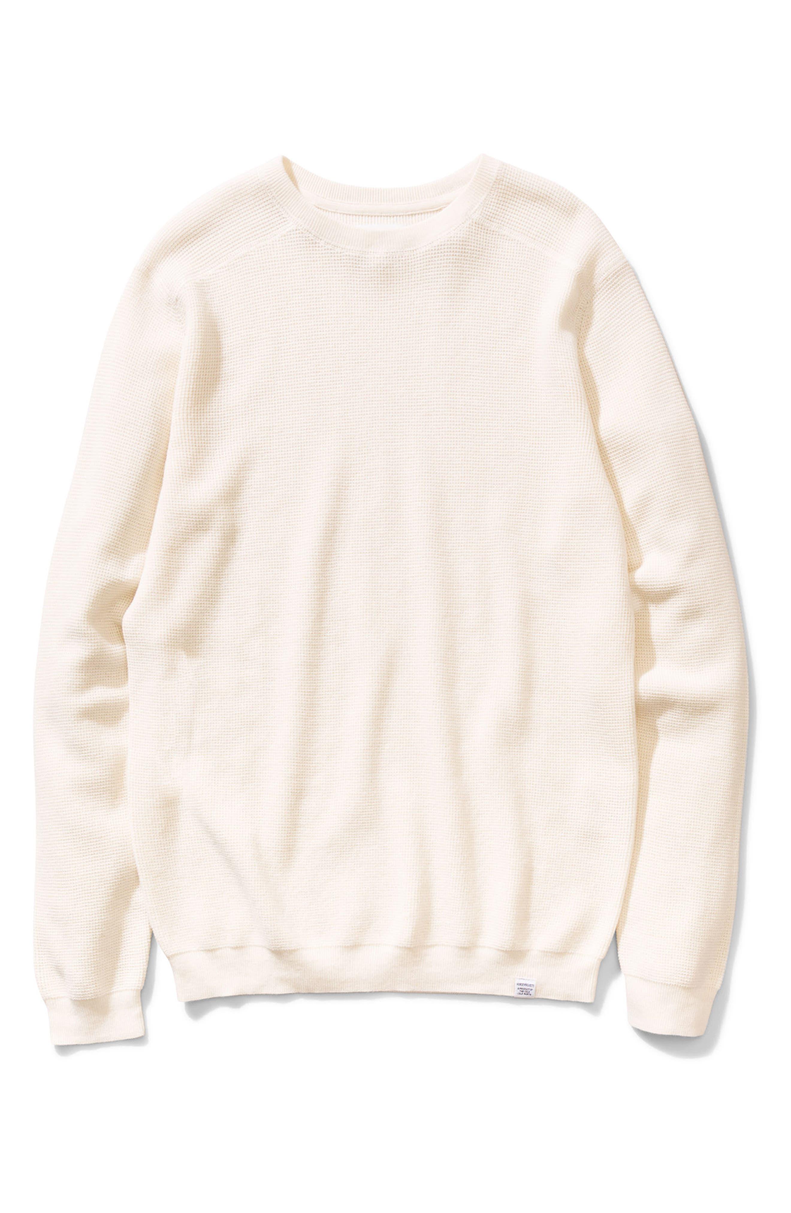 Lauge Waffle Knit Sweatshirt,                         Main,                         color, Ecru