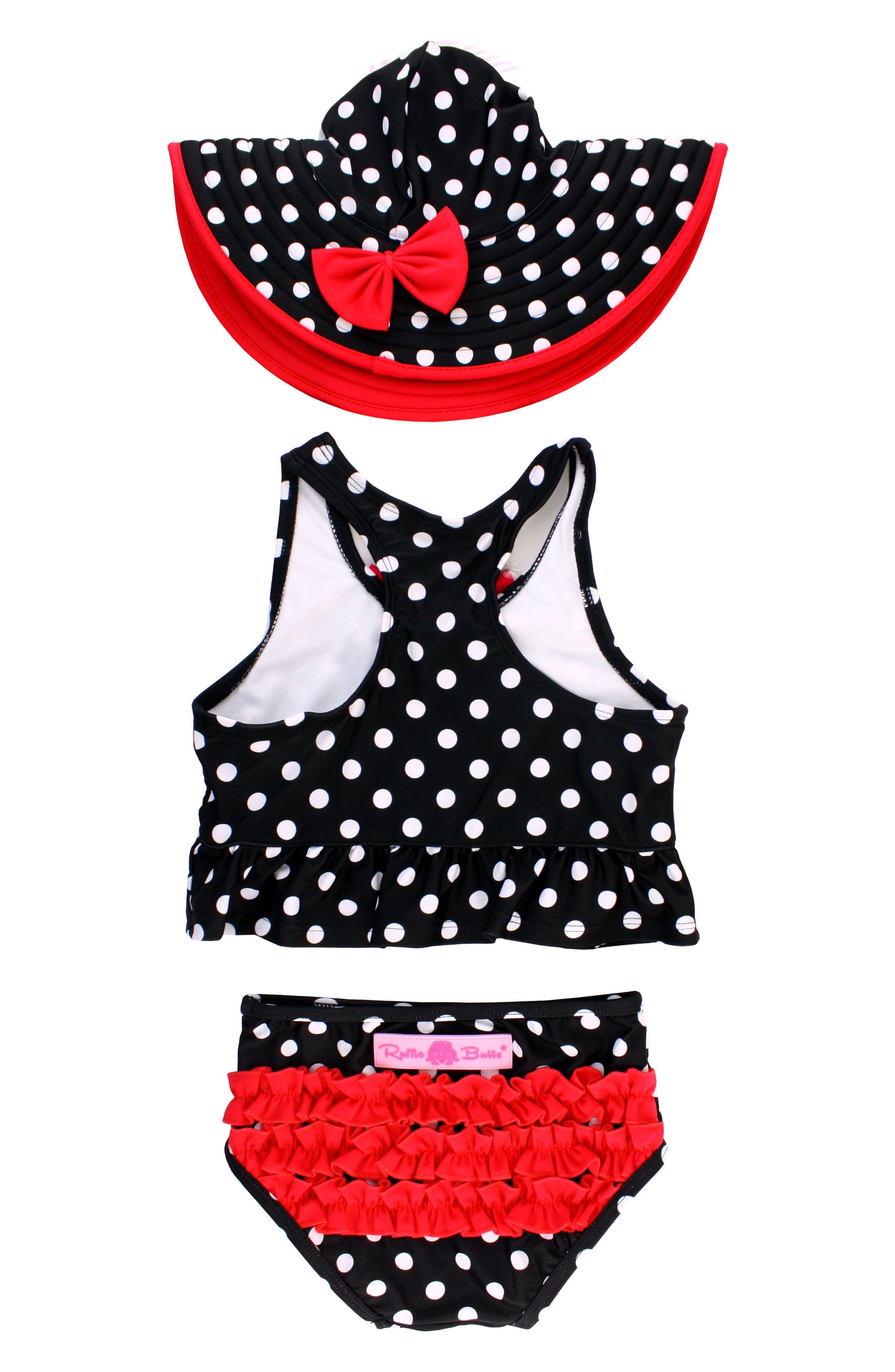 Vintage Bow Peplum Two-Piece Tankini Swimsuit & Hat Set,                             Alternate thumbnail 2, color,                             Black