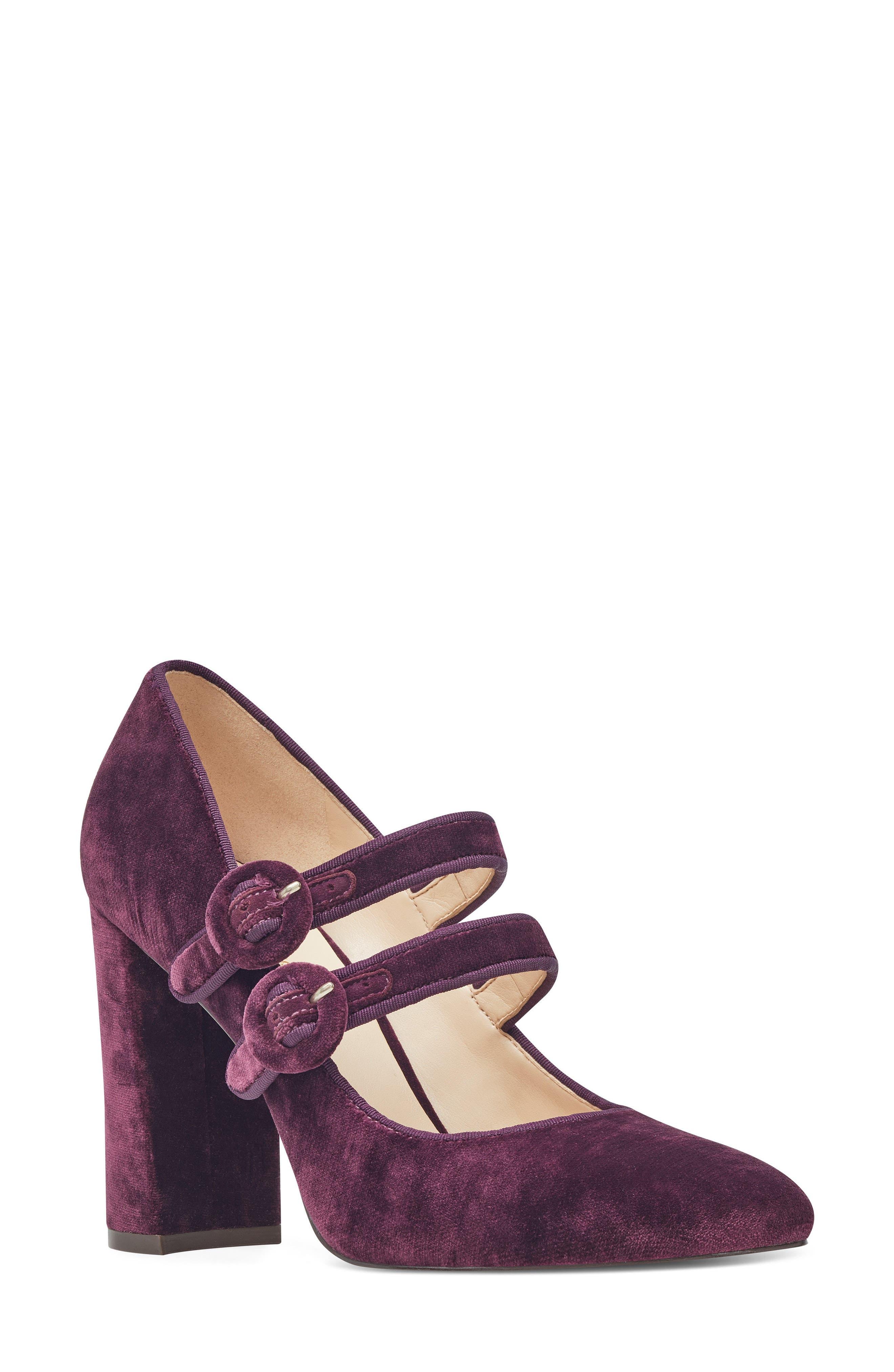 Dabney Double Strap Mary Jane Pump,                             Main thumbnail 1, color,                             Dark Purple Fabric