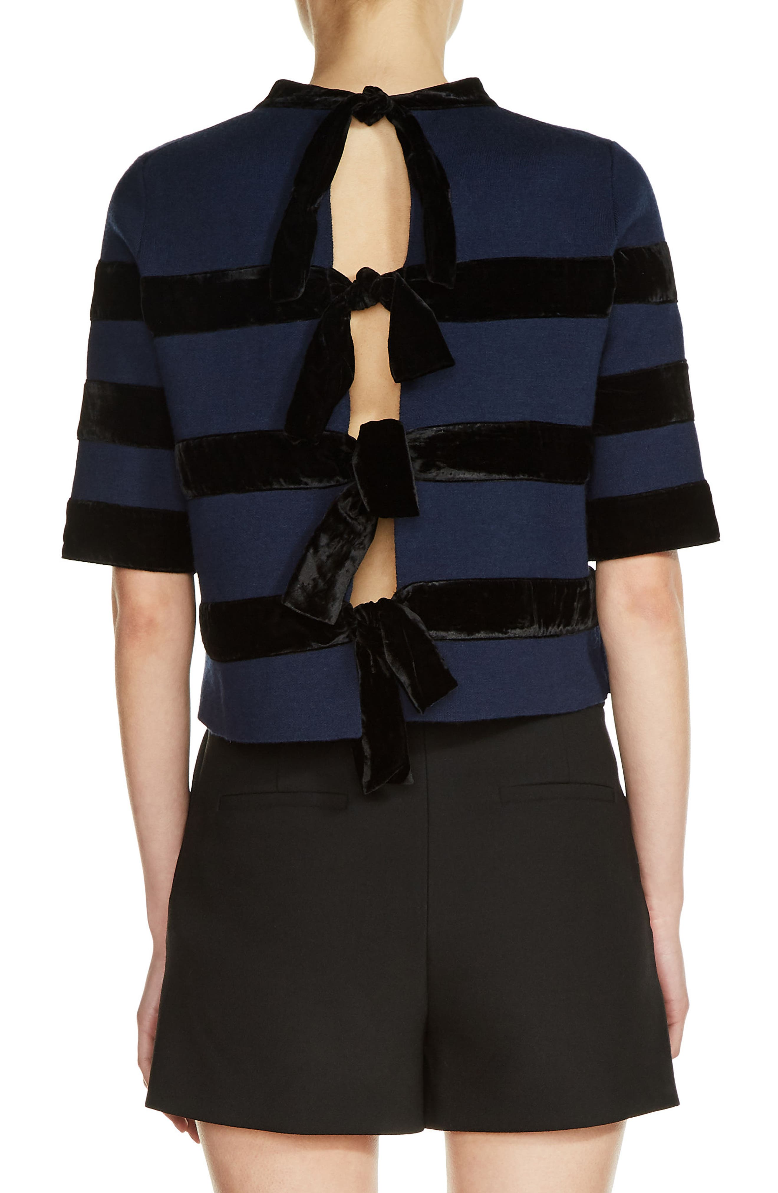 Alternate Image 2  - maje Velvet Stripe Milano Knit Crop Top