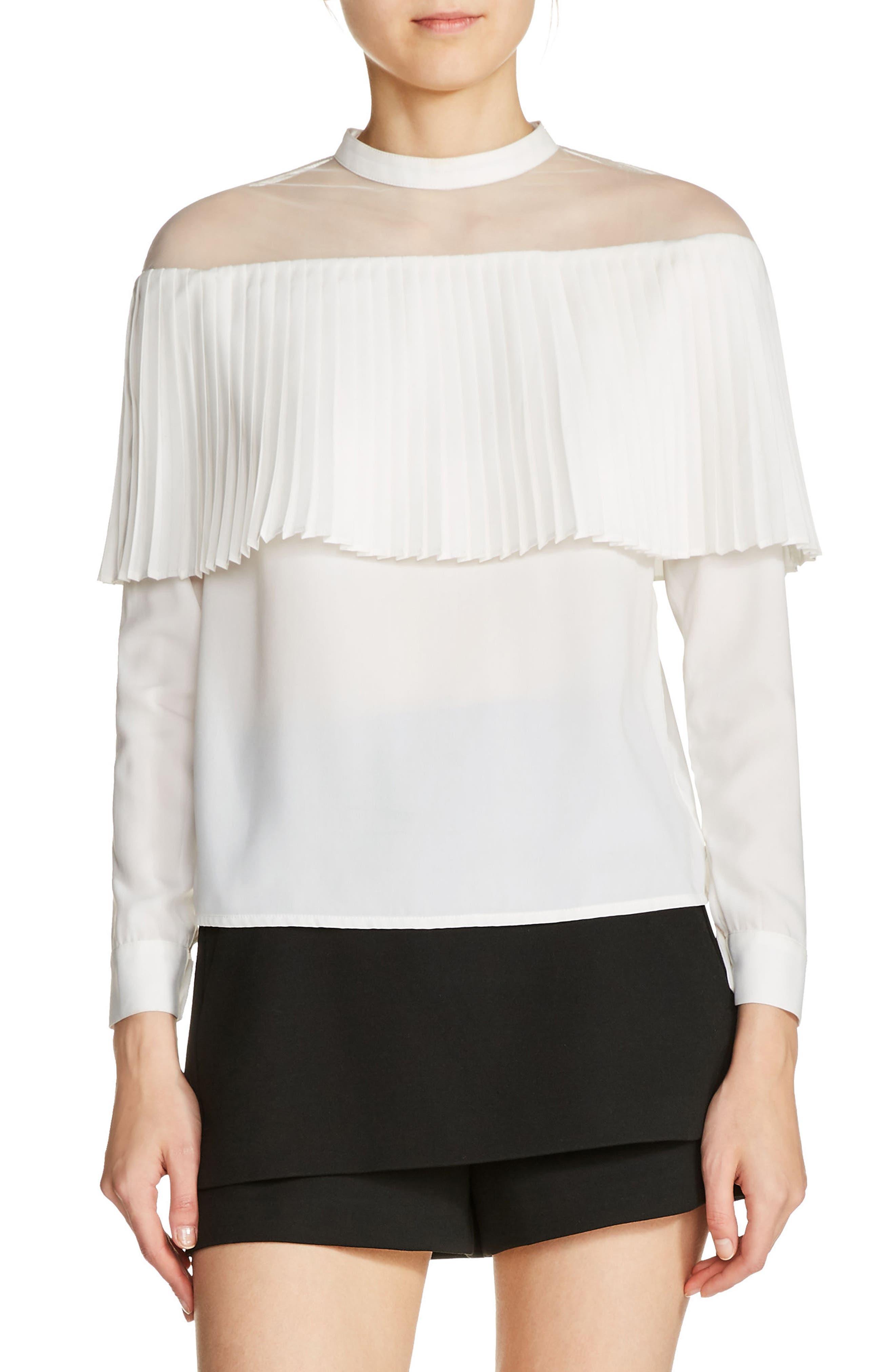 Sheer Shoulder Tiered Blouse,                         Main,                         color, Ecru